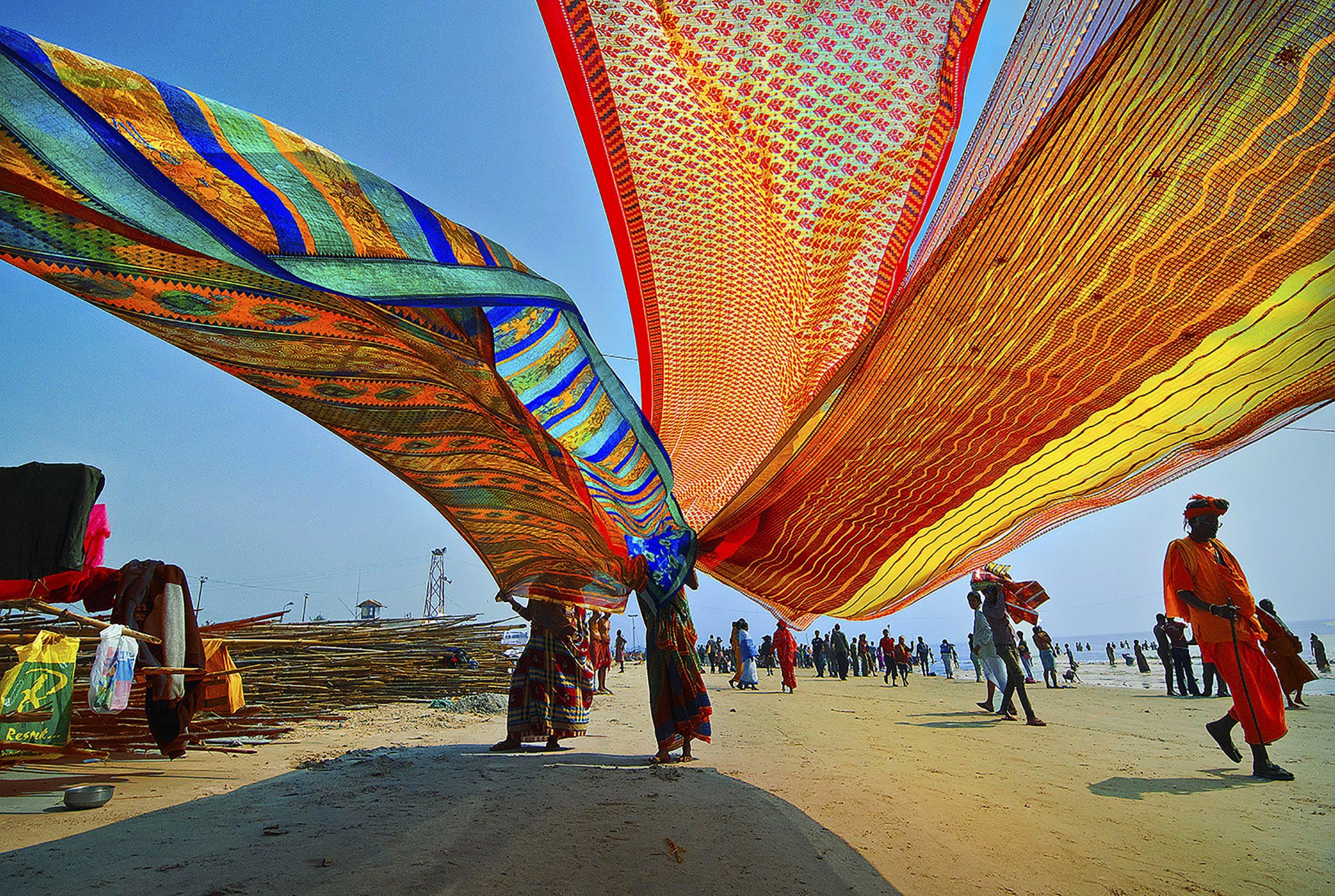 Waving Saree Cloth by the Beach