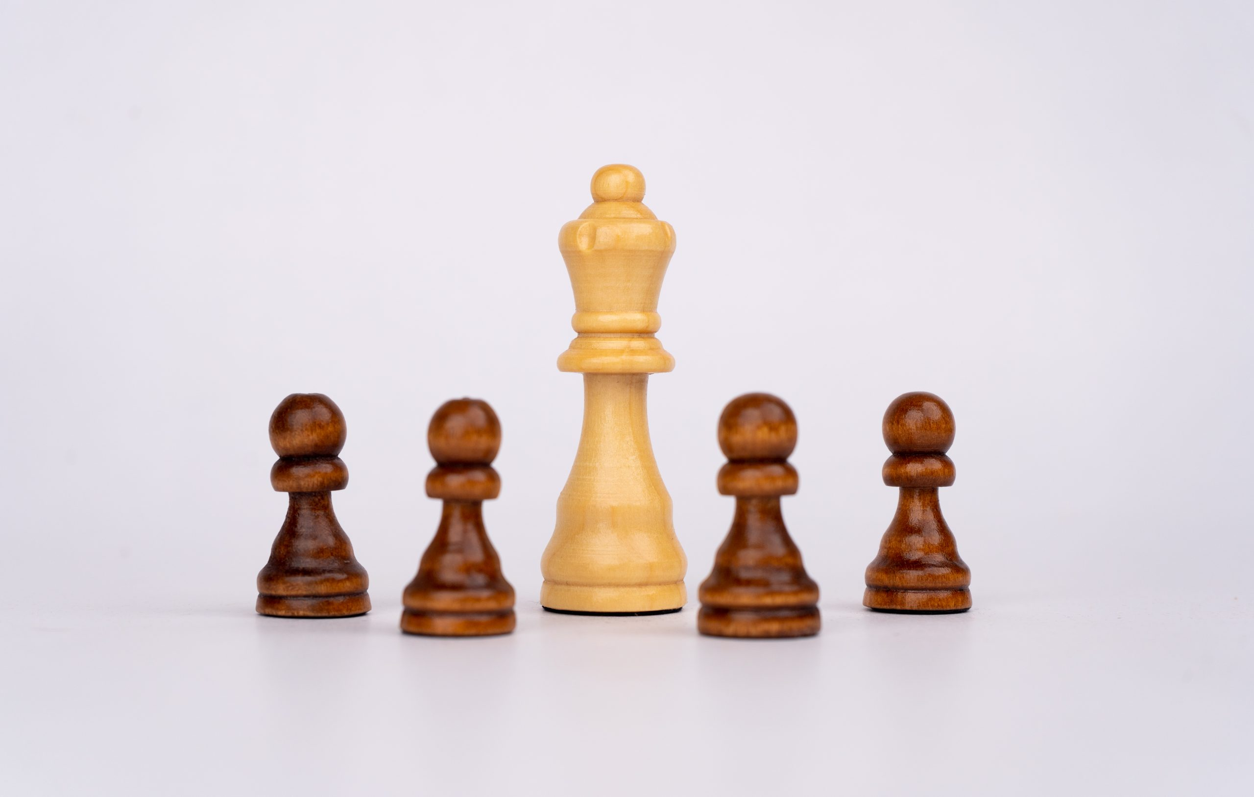 White queen and black pawns