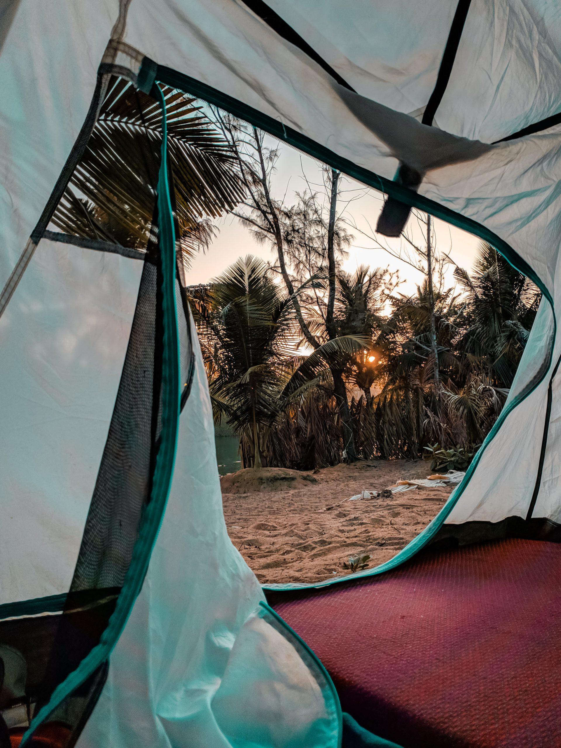 Camping tent interior