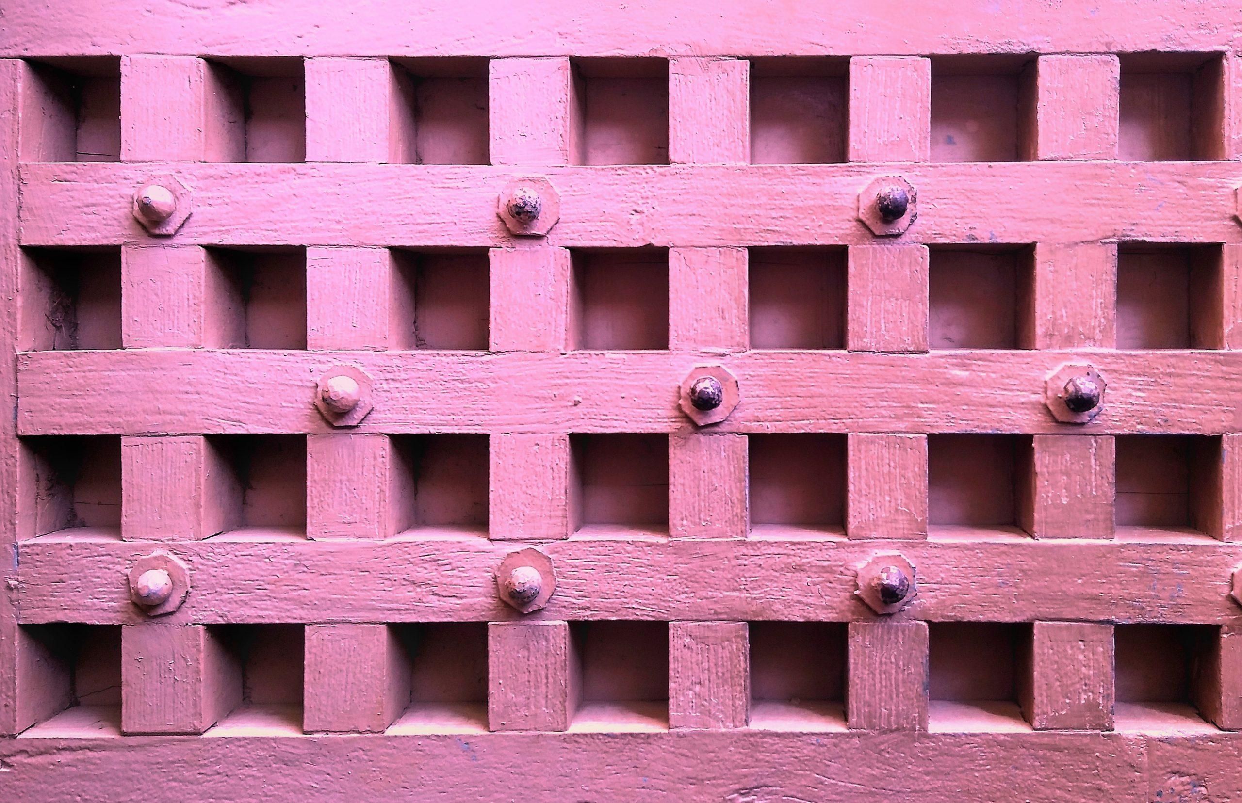 Wooden door with square design