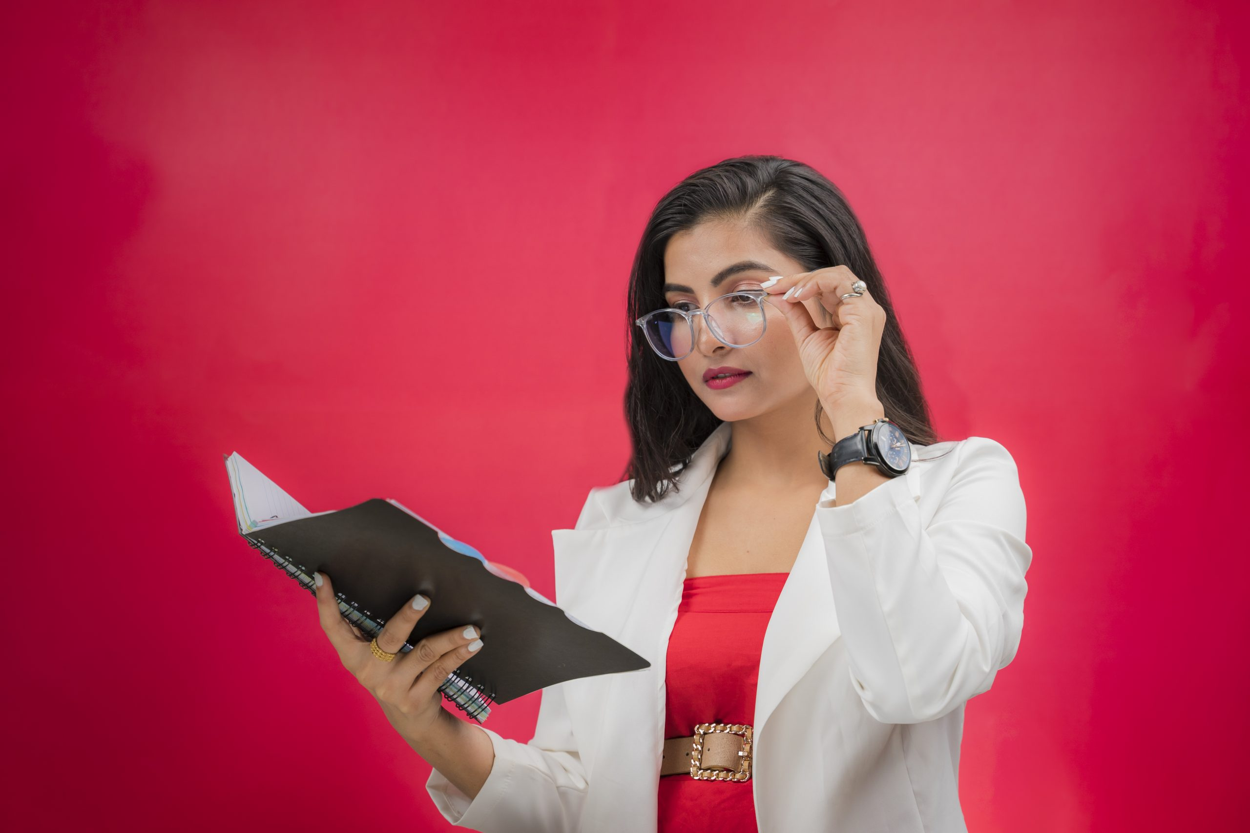 Working woman reading book