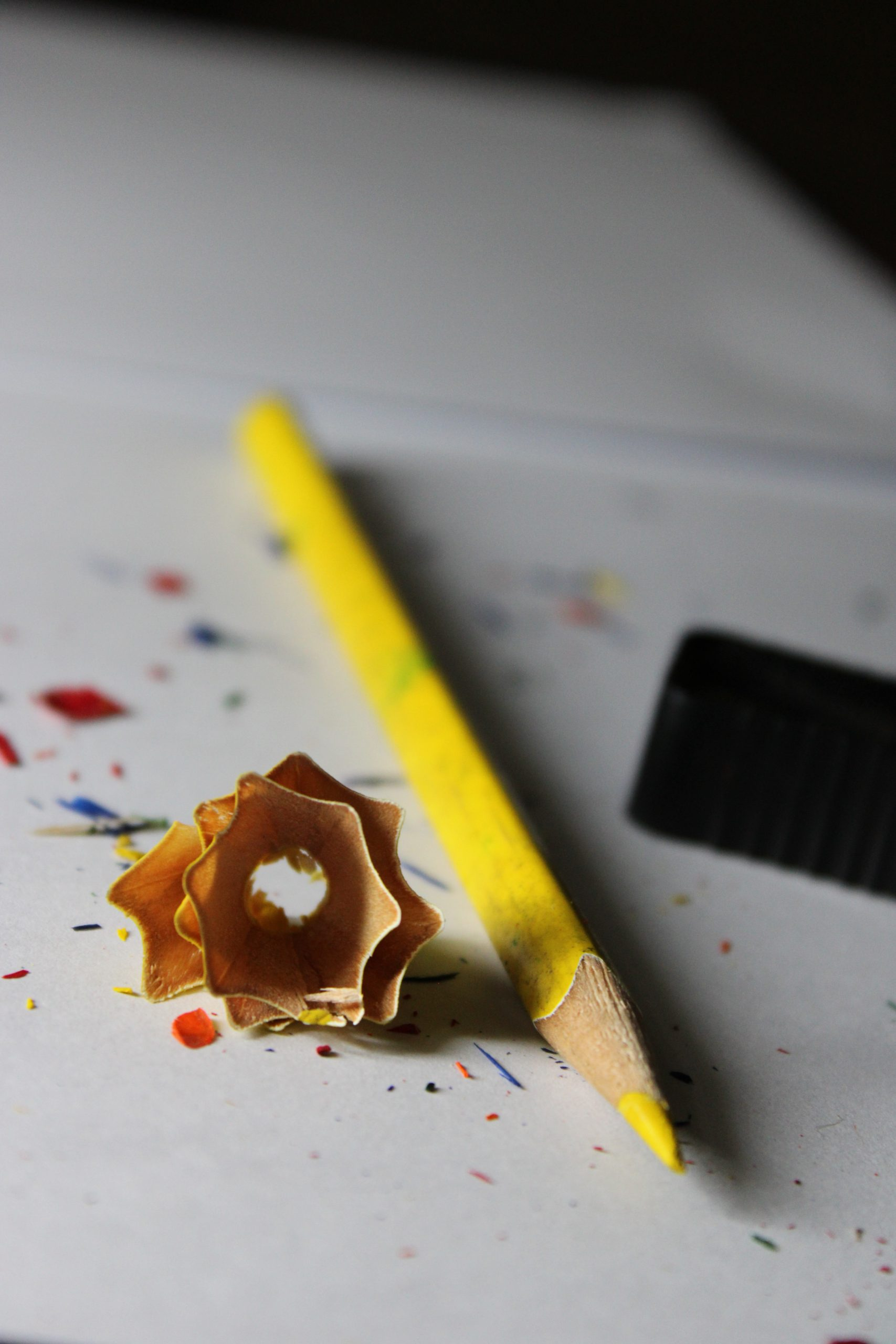 Yellow colored pencil sharpened