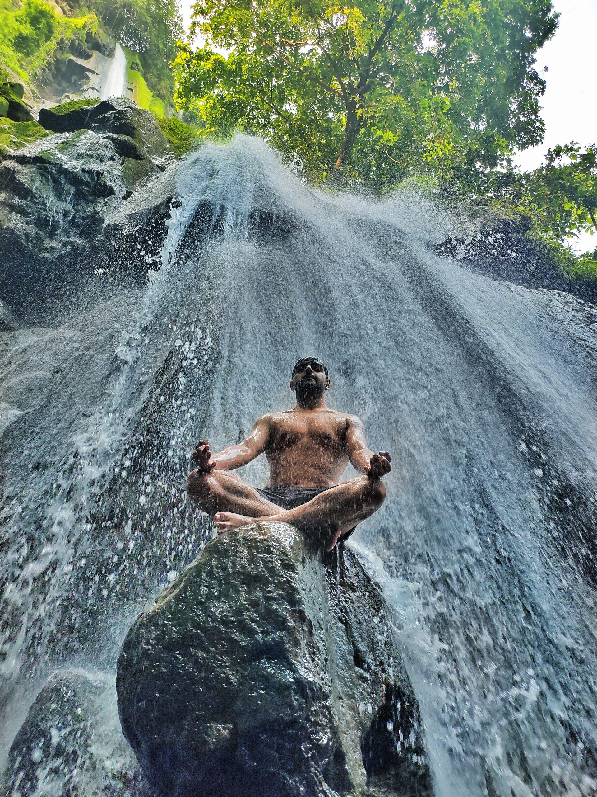 Yoga Exercise on the Waterfalls
