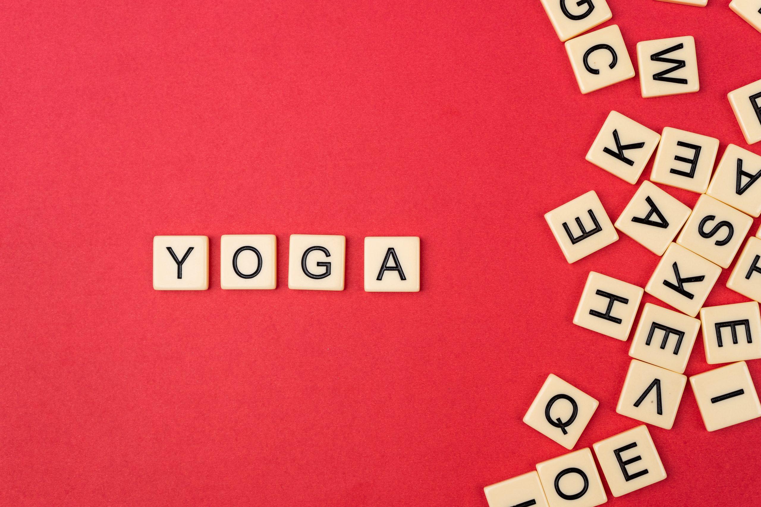 Yoga written with scrabble