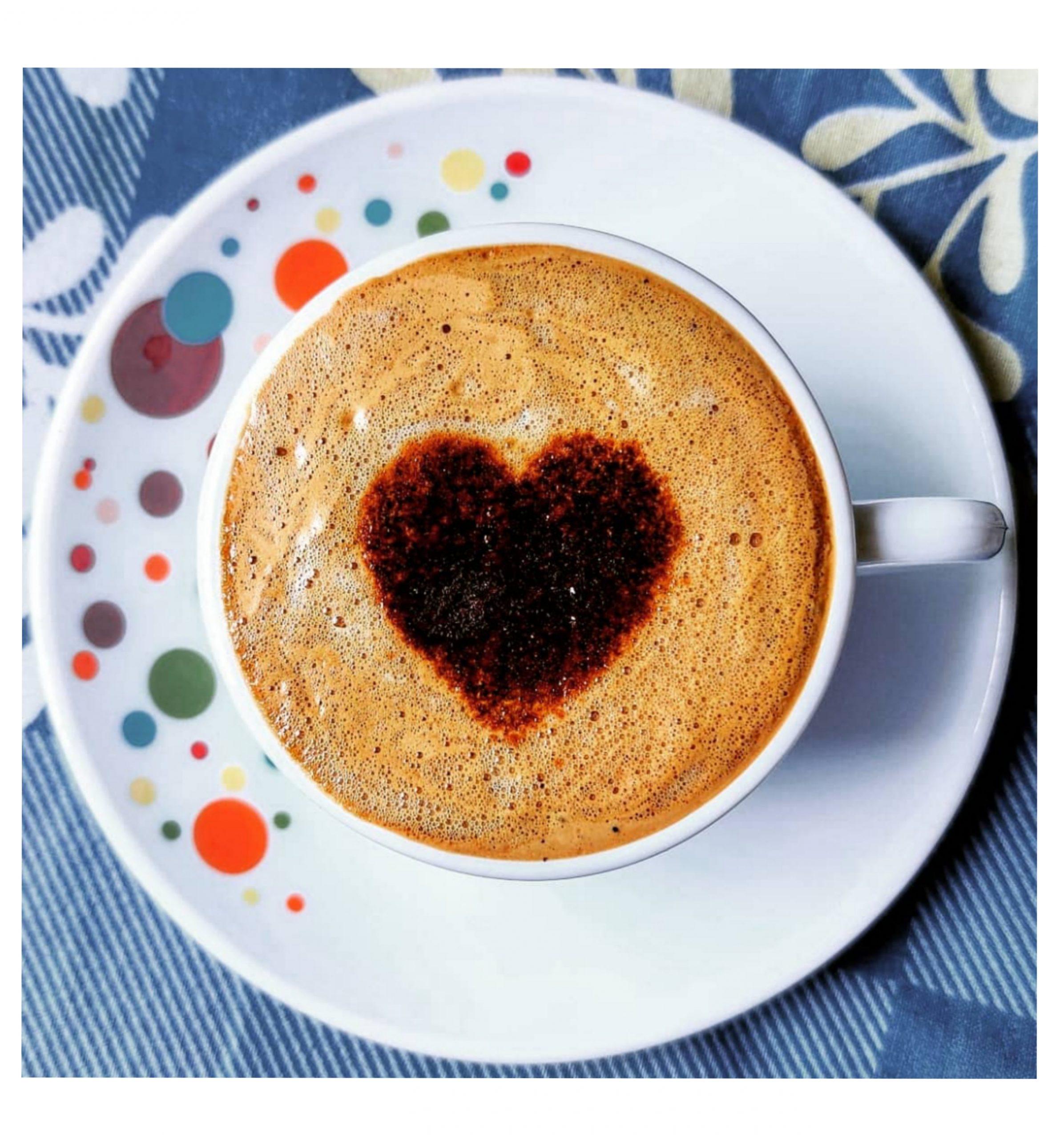 heart shaped latte art in coffee