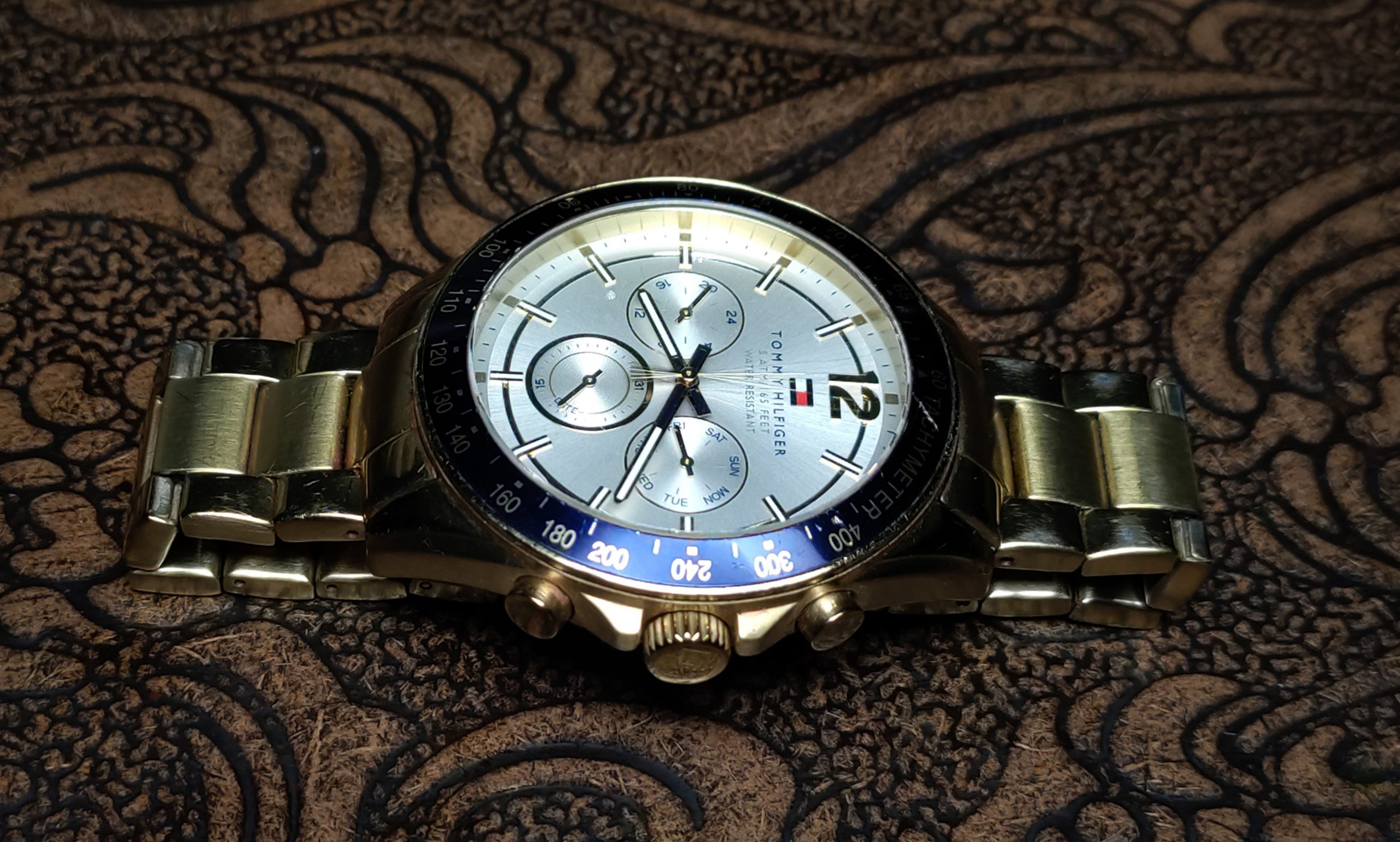 designer watch on table
