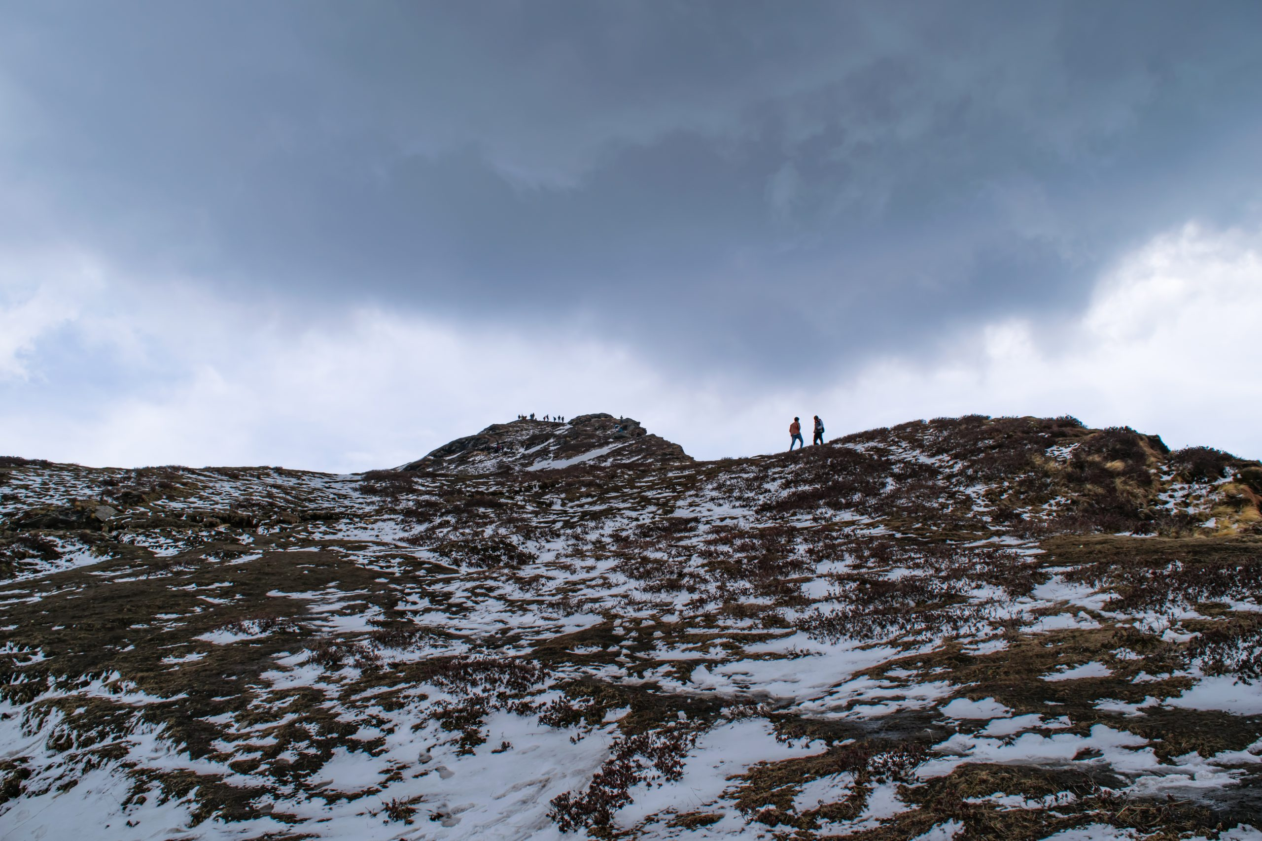 people standing on a hill top