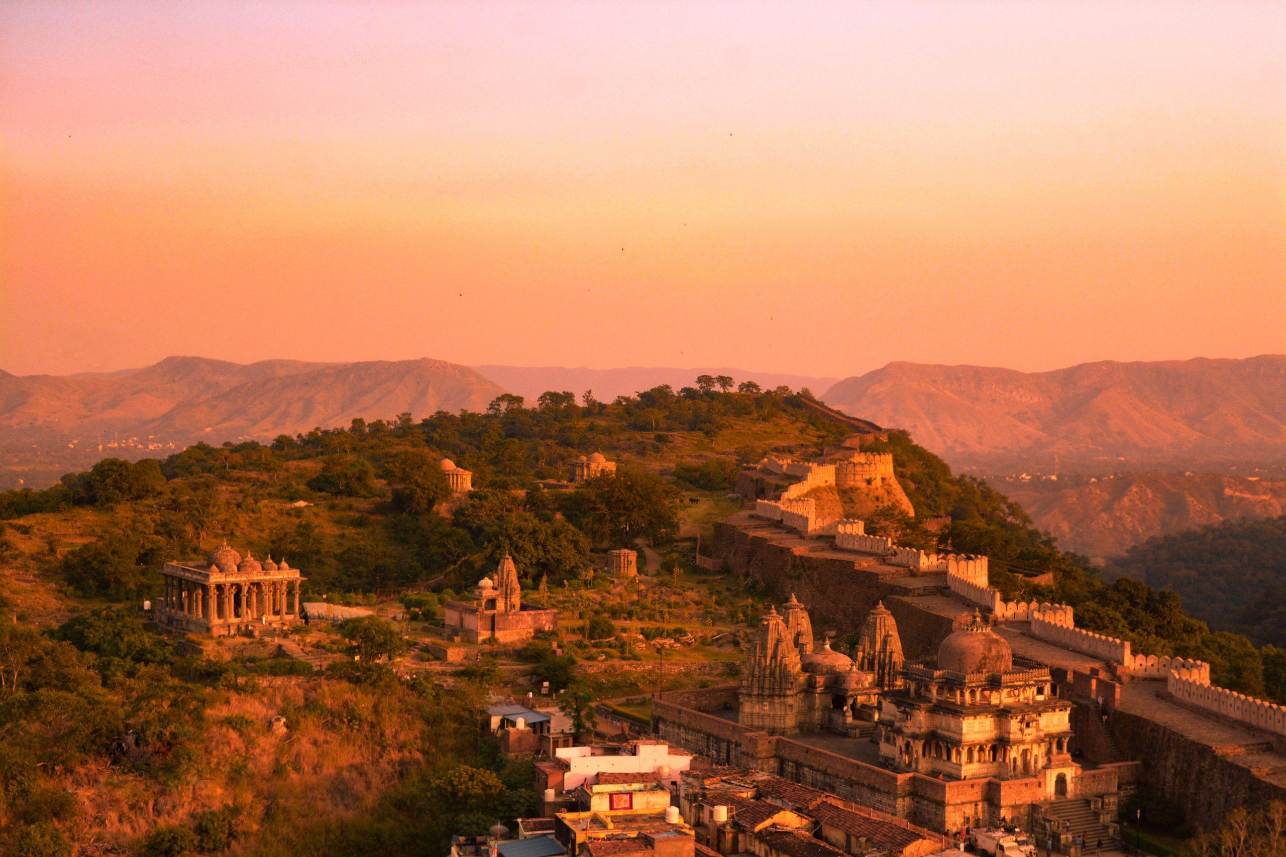 Evening view of Kumbhalgarh Fort, Rajasthan.