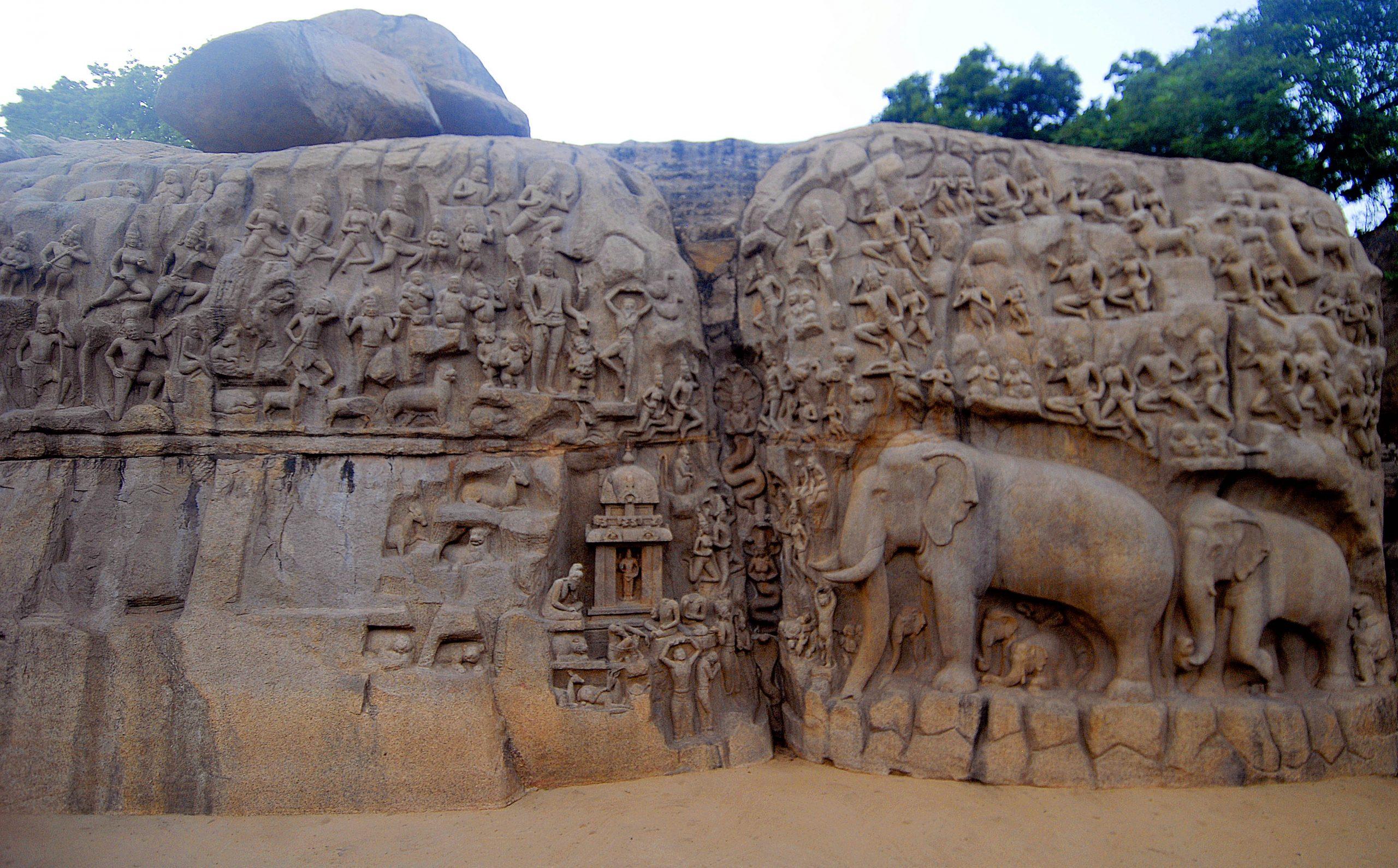 Ancient art in Mahabalipuram.