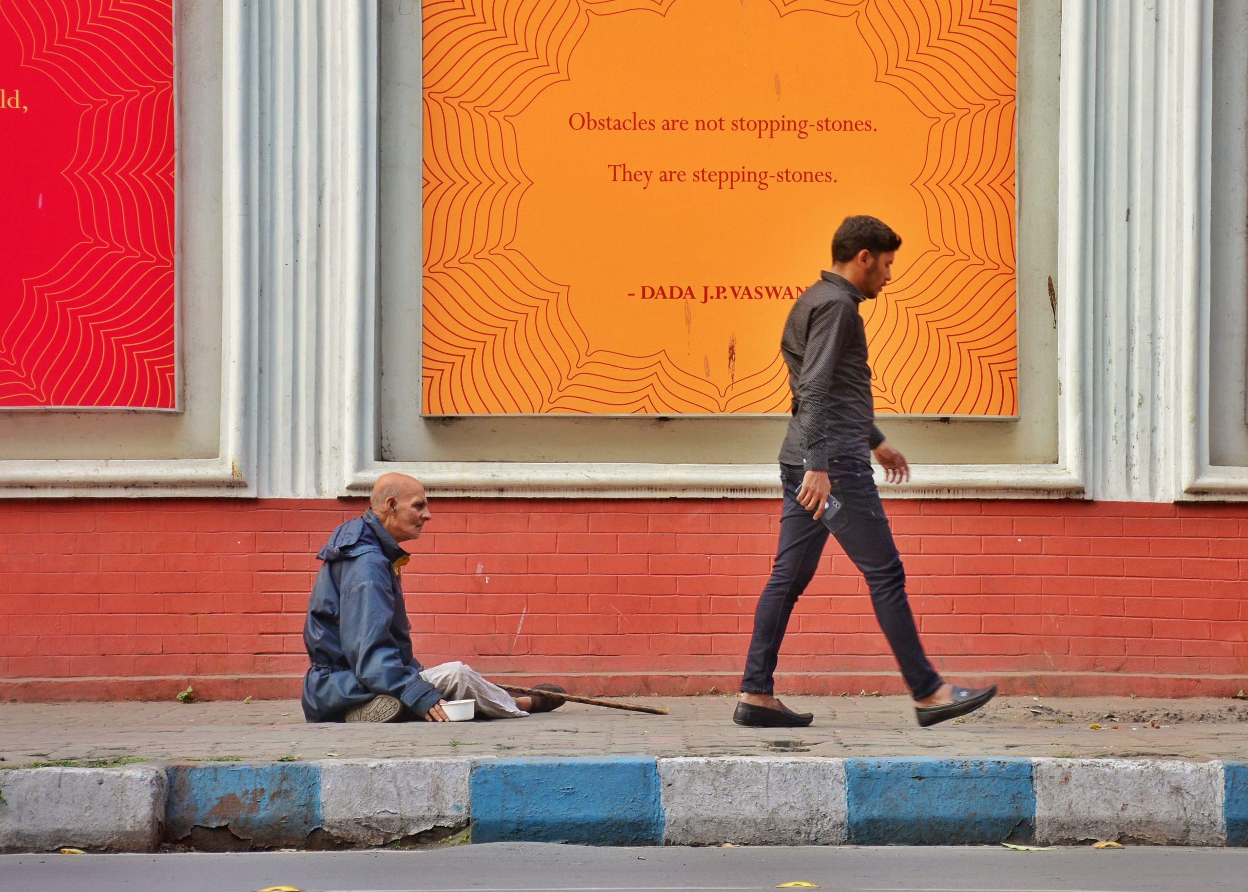 men in the side walk