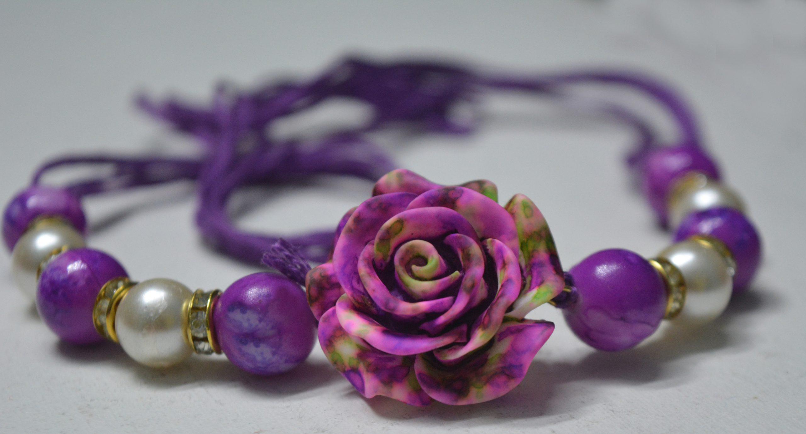 A purple coloured bracelet