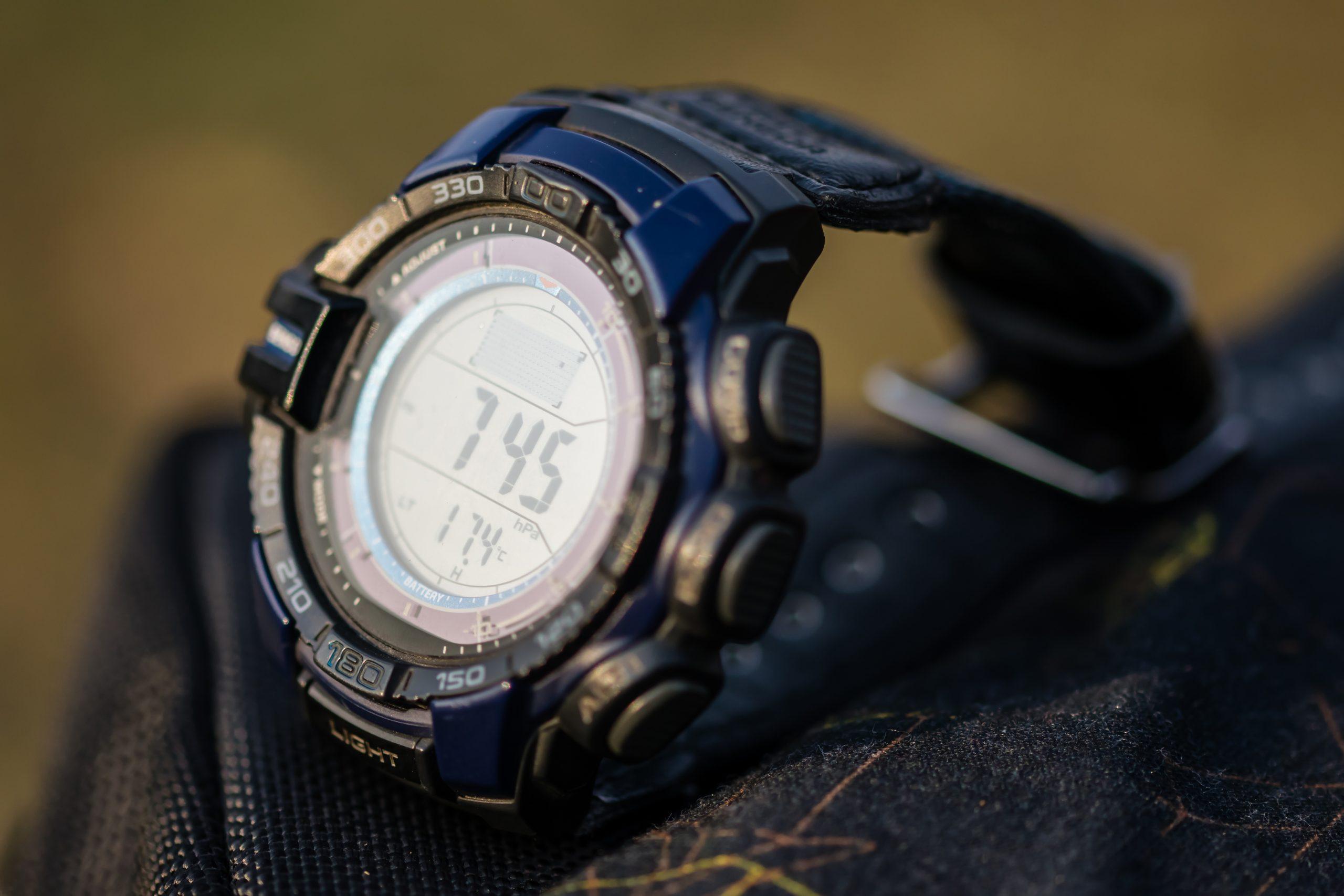 Wrist watch in focus.
