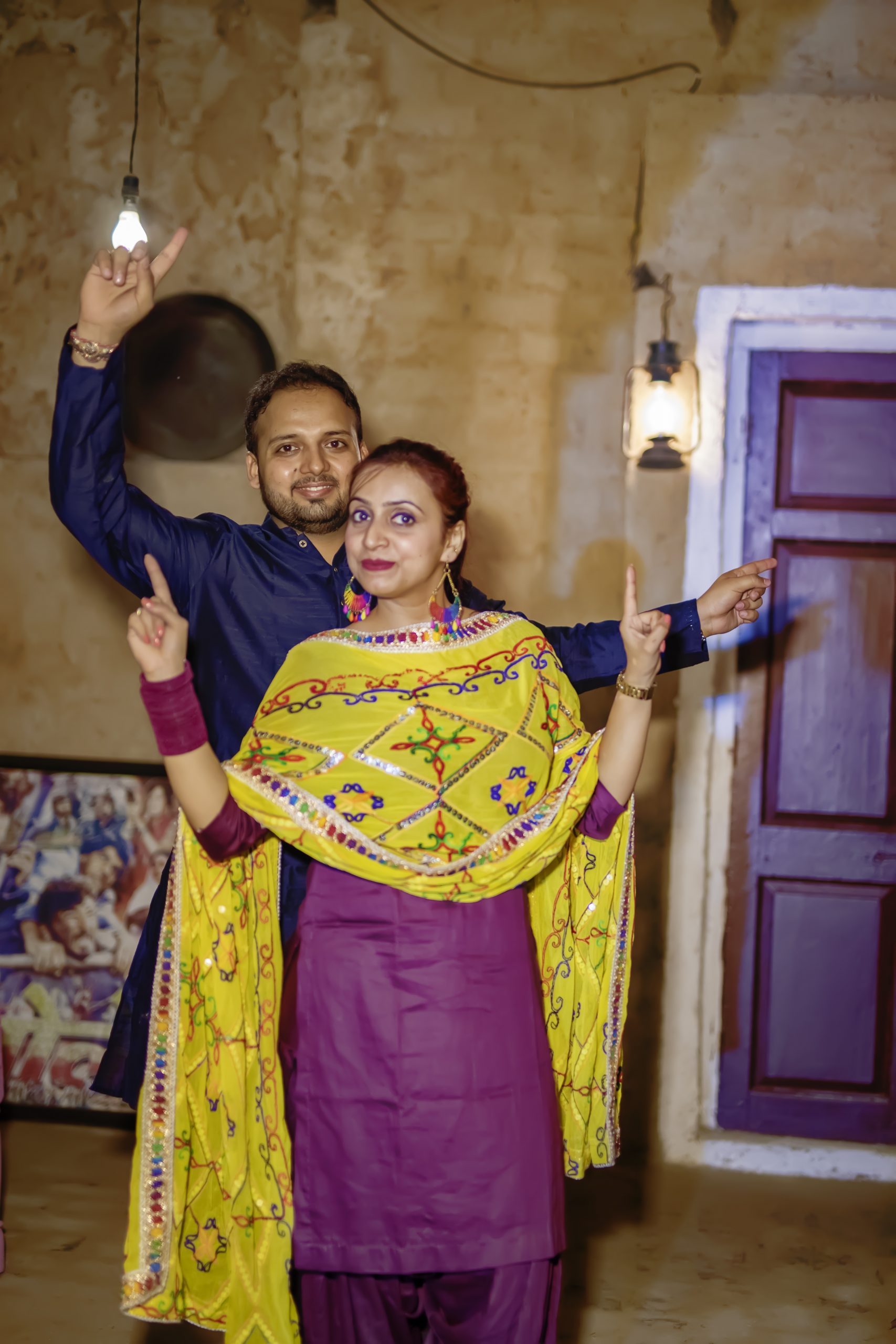 A Punjabi couple dancing