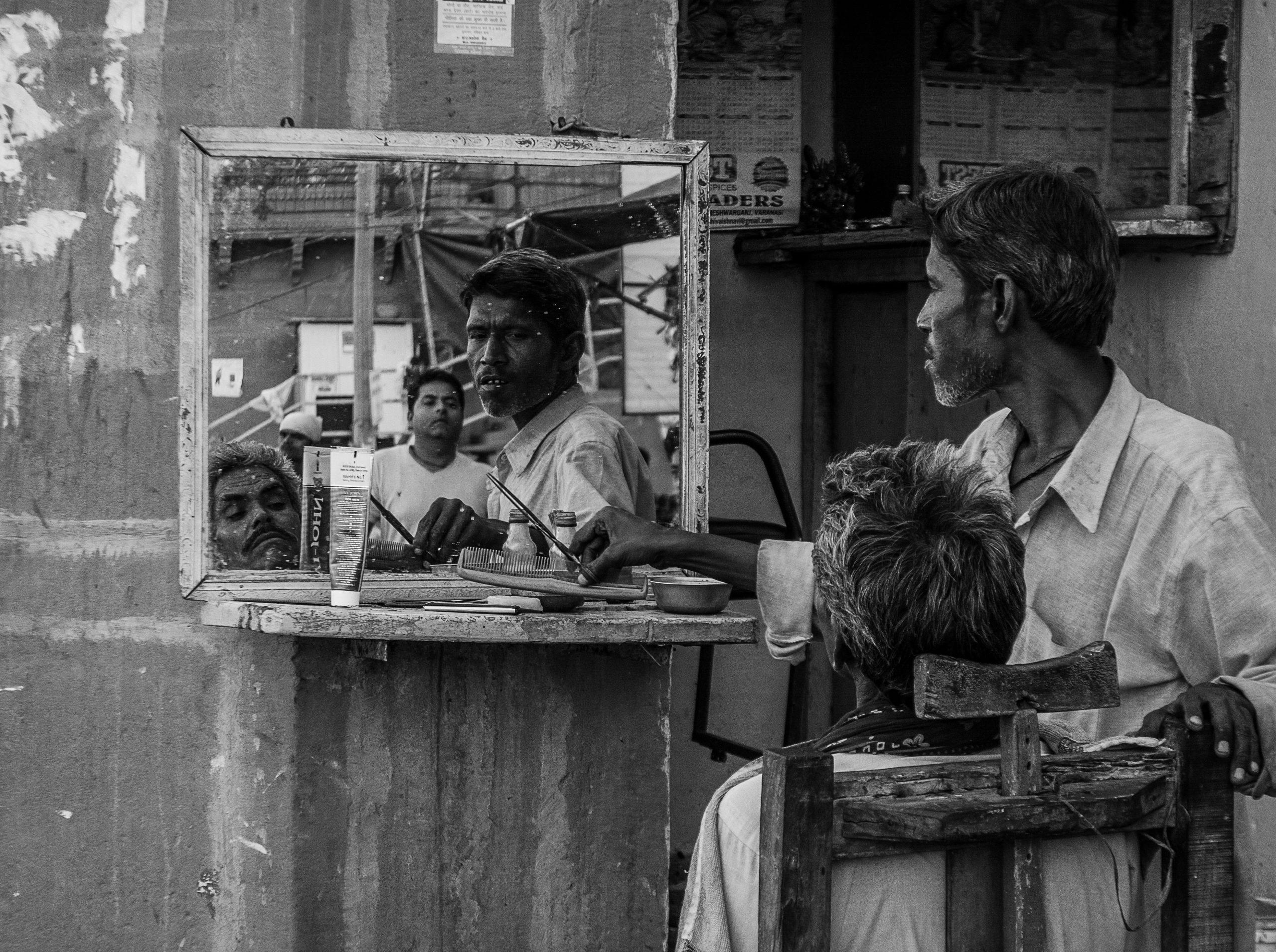 A barber shop in a street