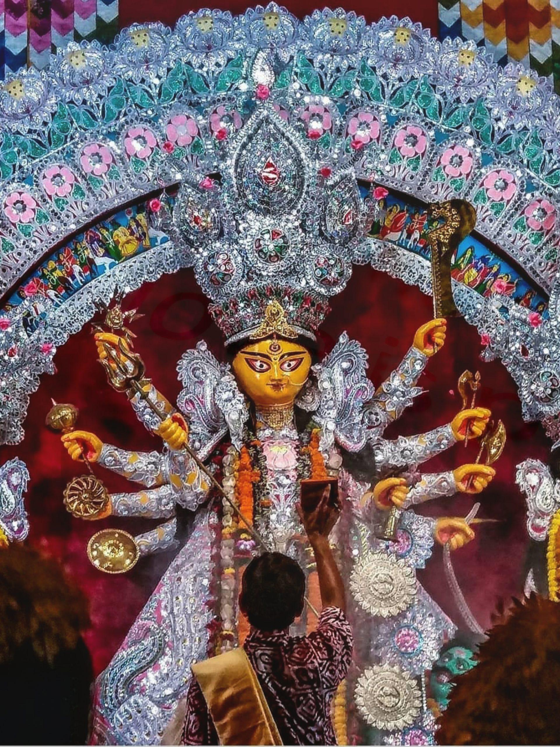 A big idol of Goddess Durga