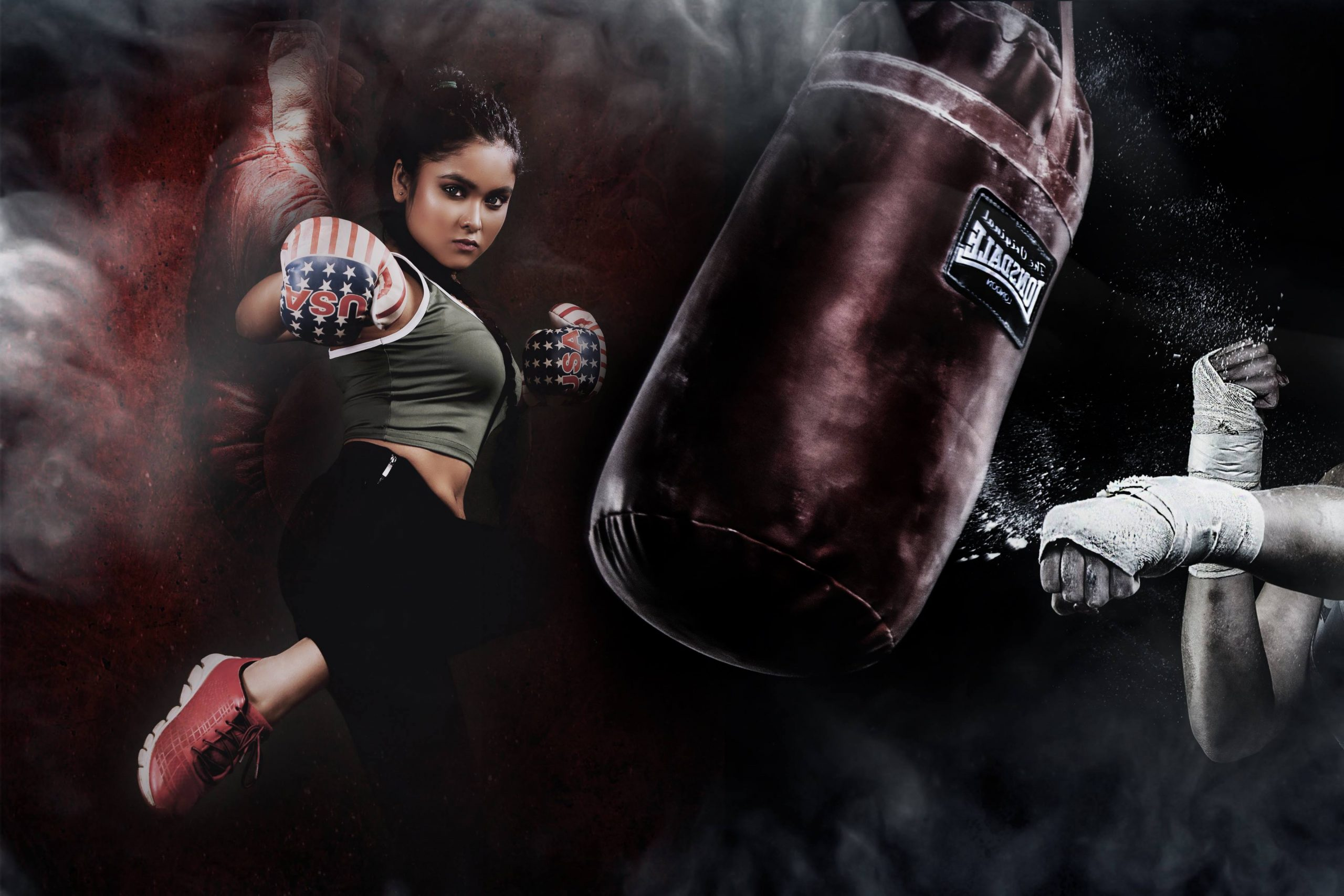 A boxer girl punching