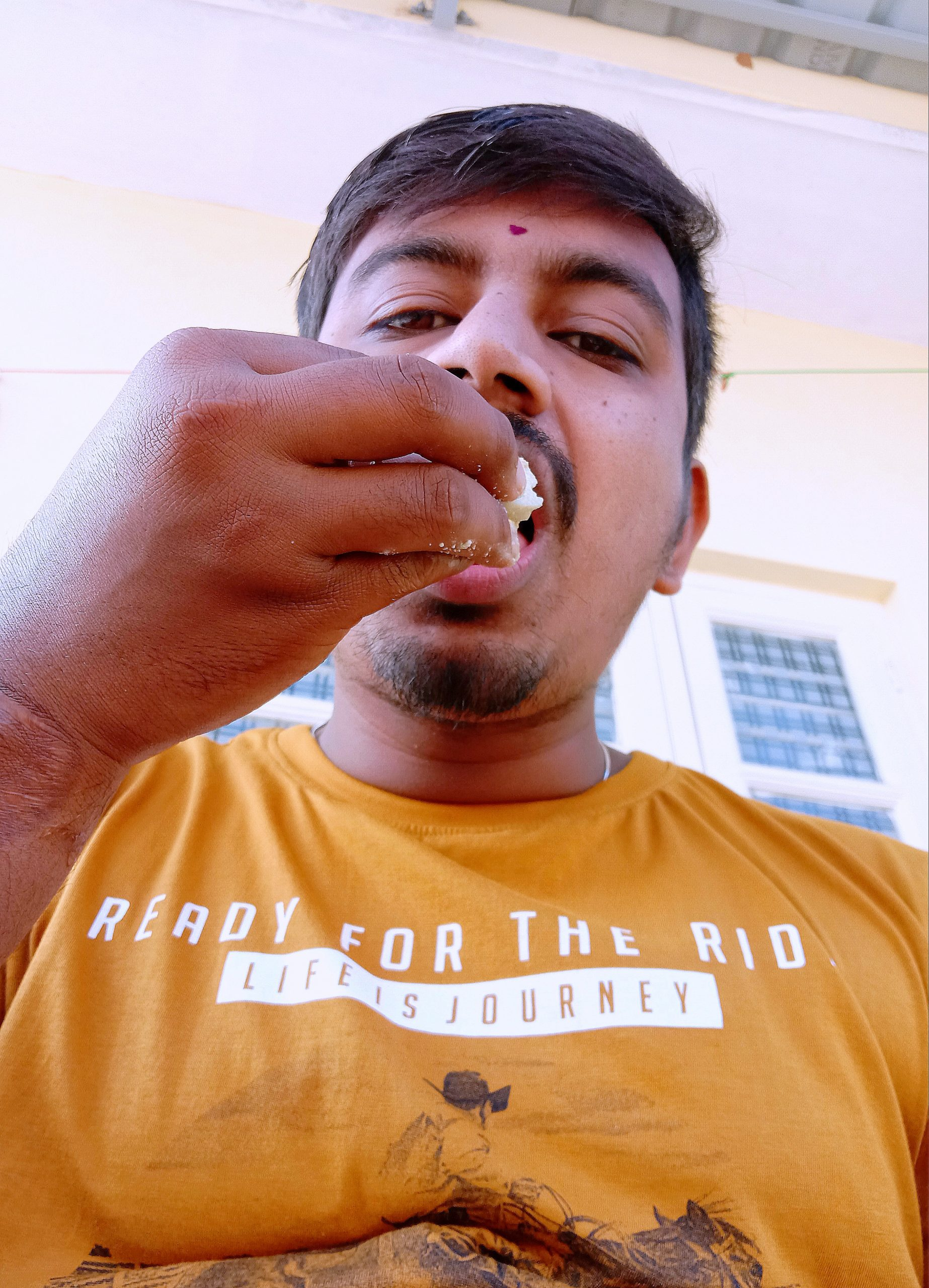 A boy eating food