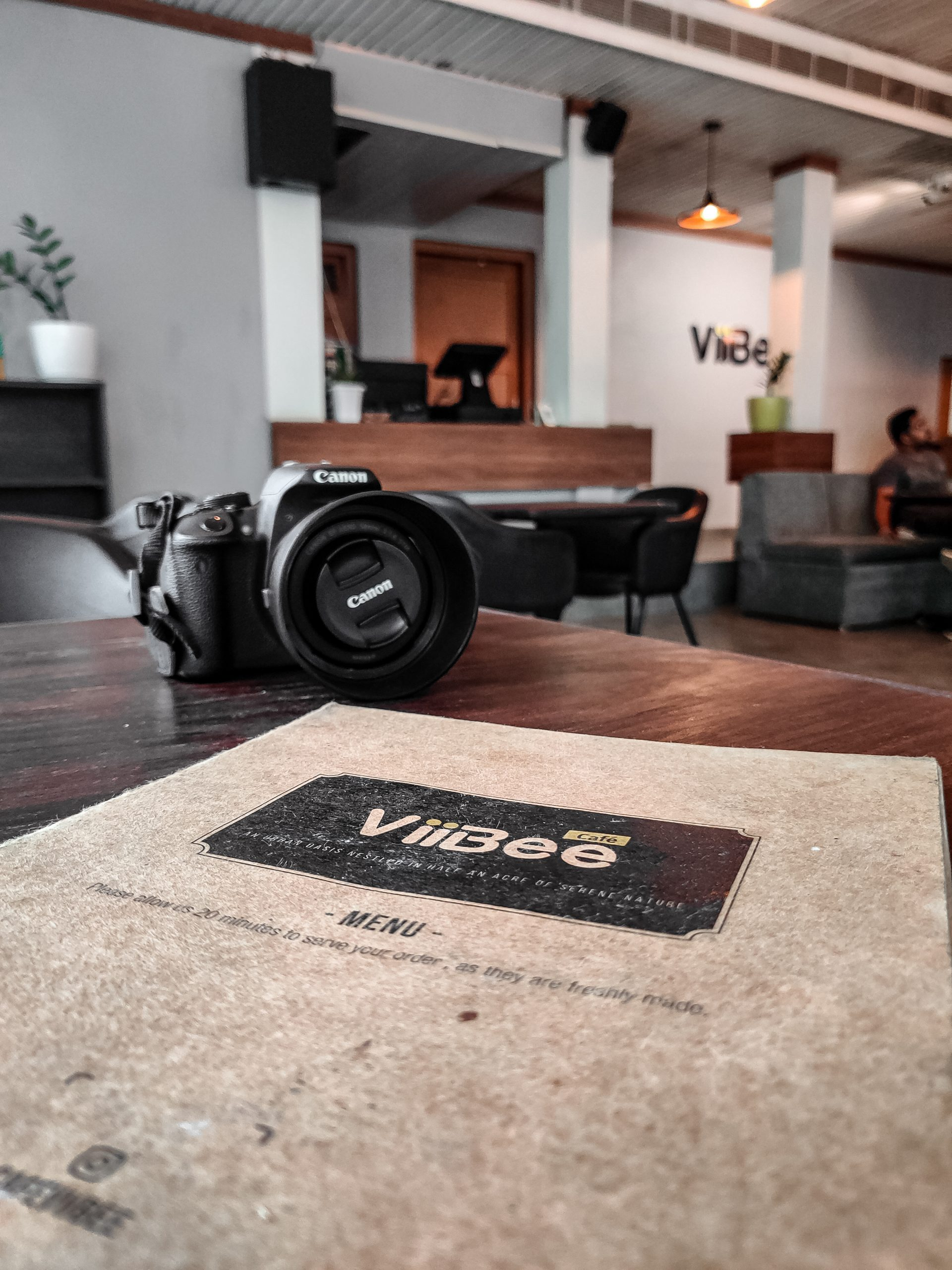 A camera on a table