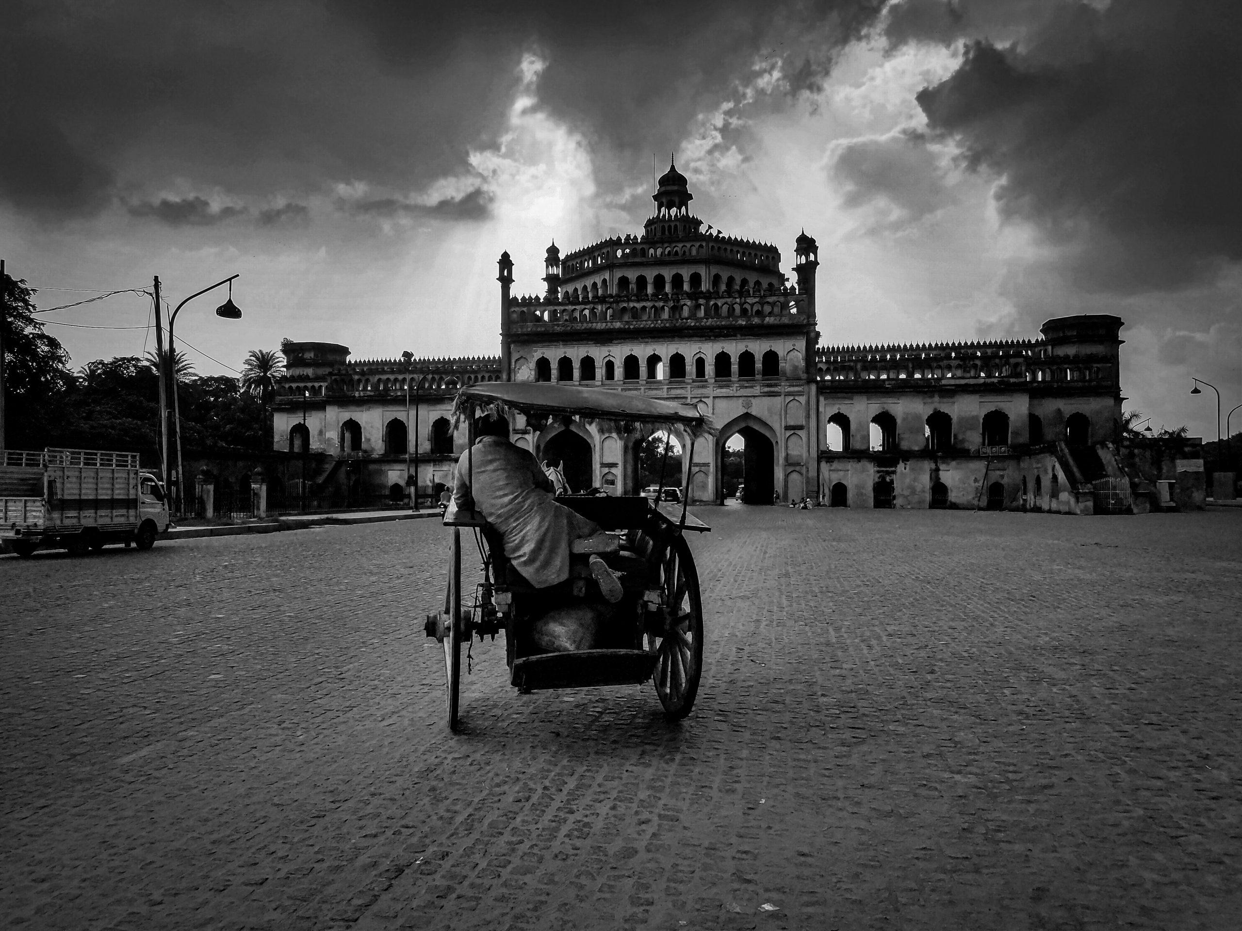 A cart near a historic building