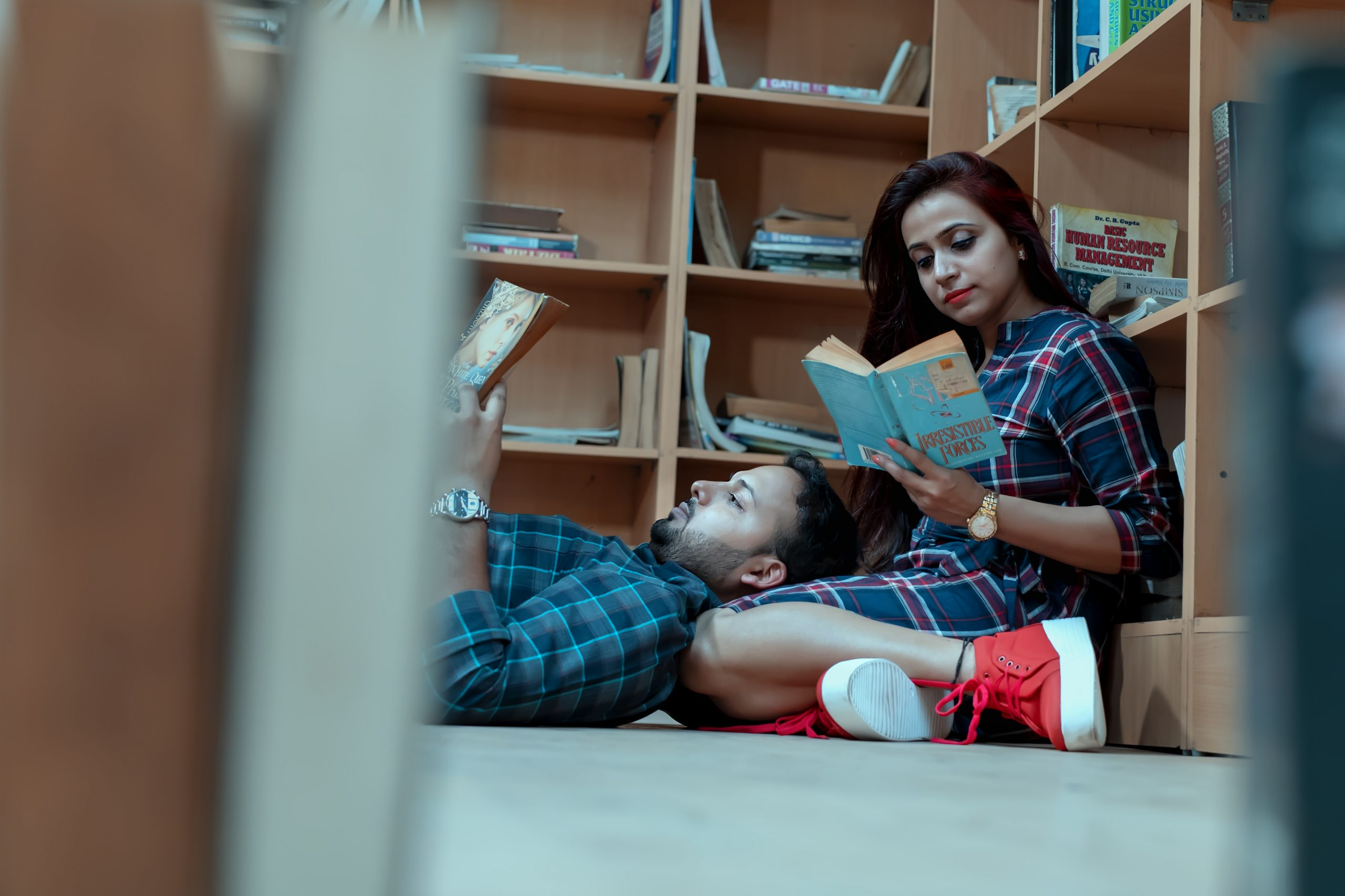 A couple romance in library