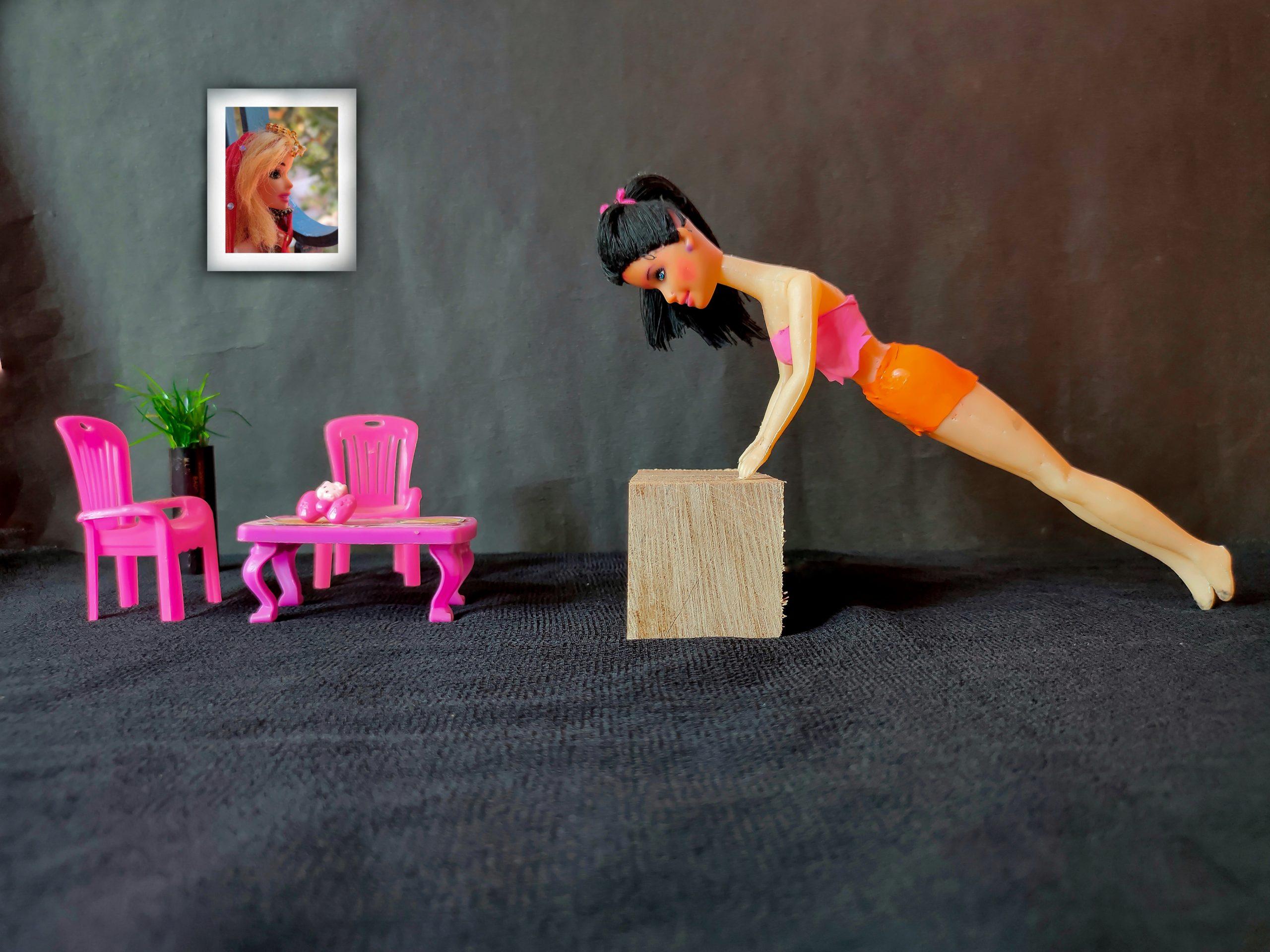 A doll doing pushups