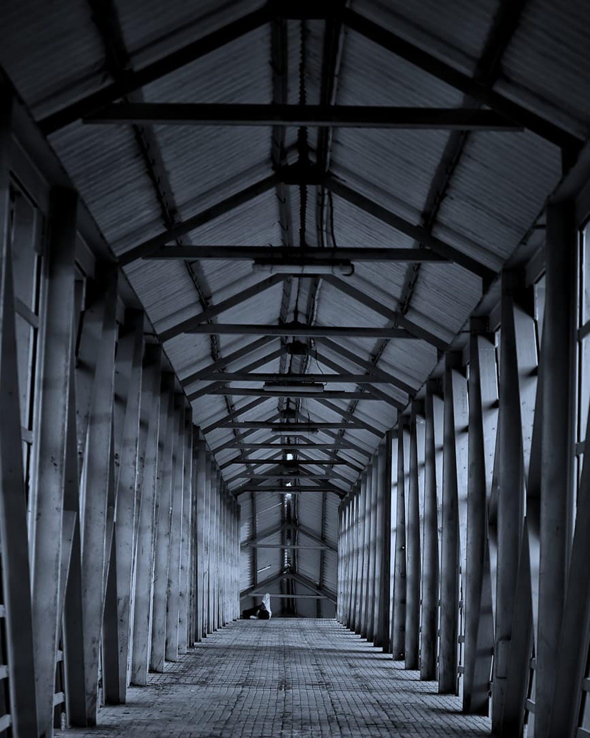 A footbridge at a railway station