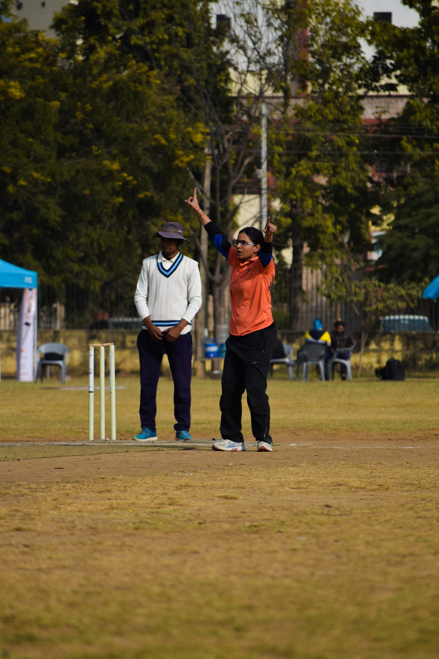 A girl cricketer after taking a wicket