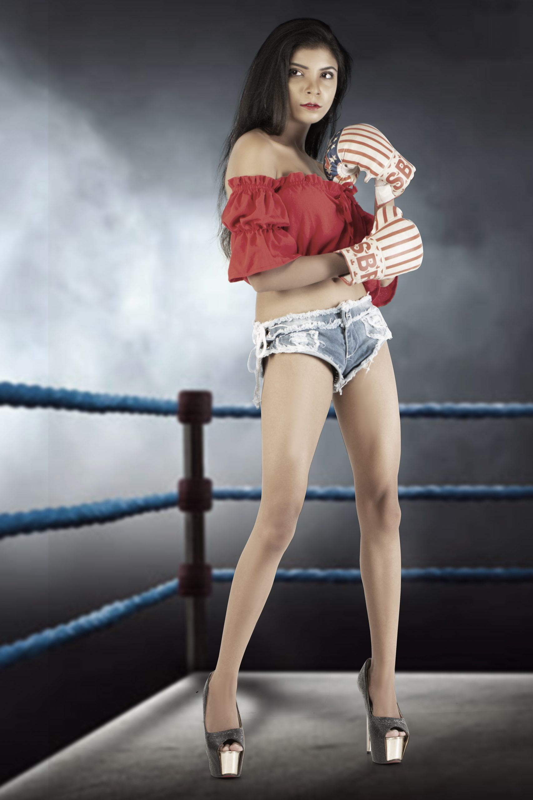 A girl in boxing ring