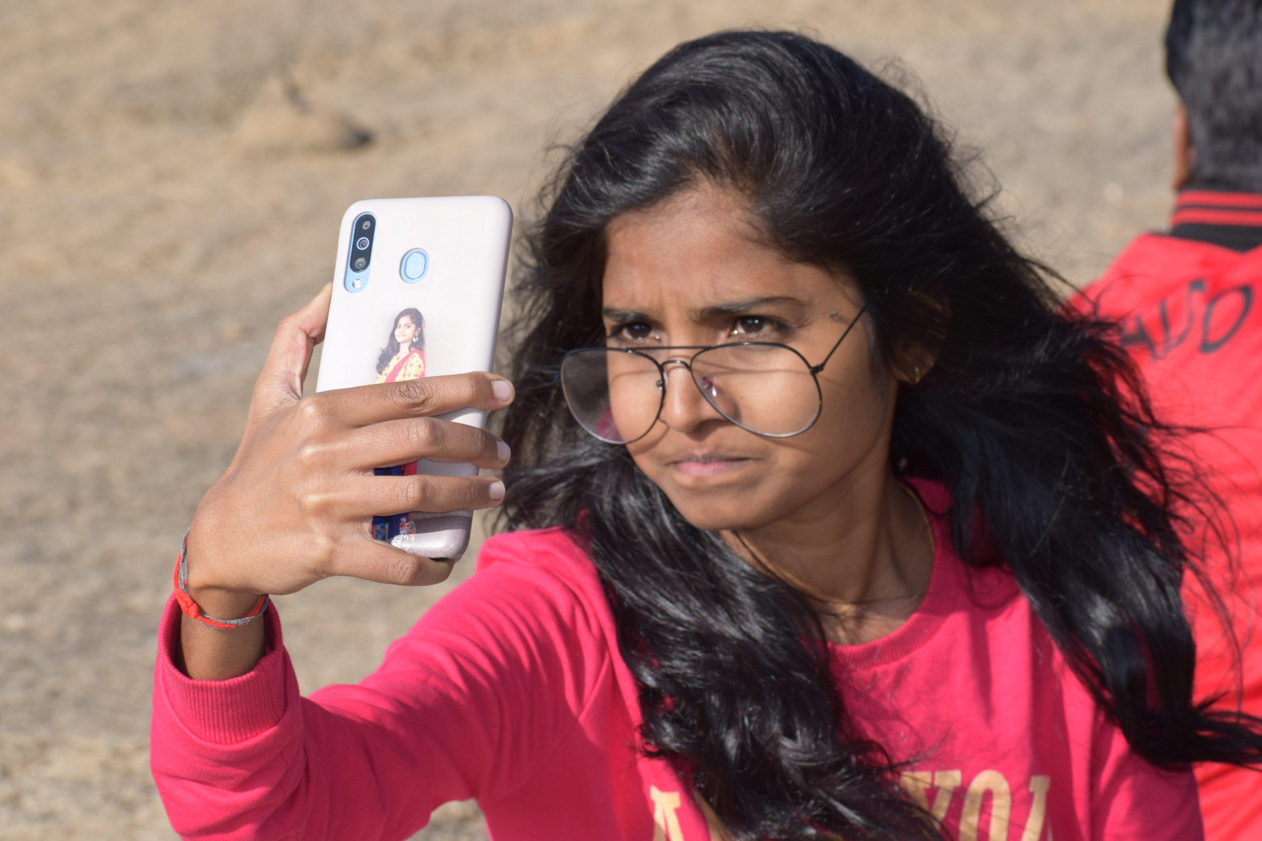 A girl taking selfie