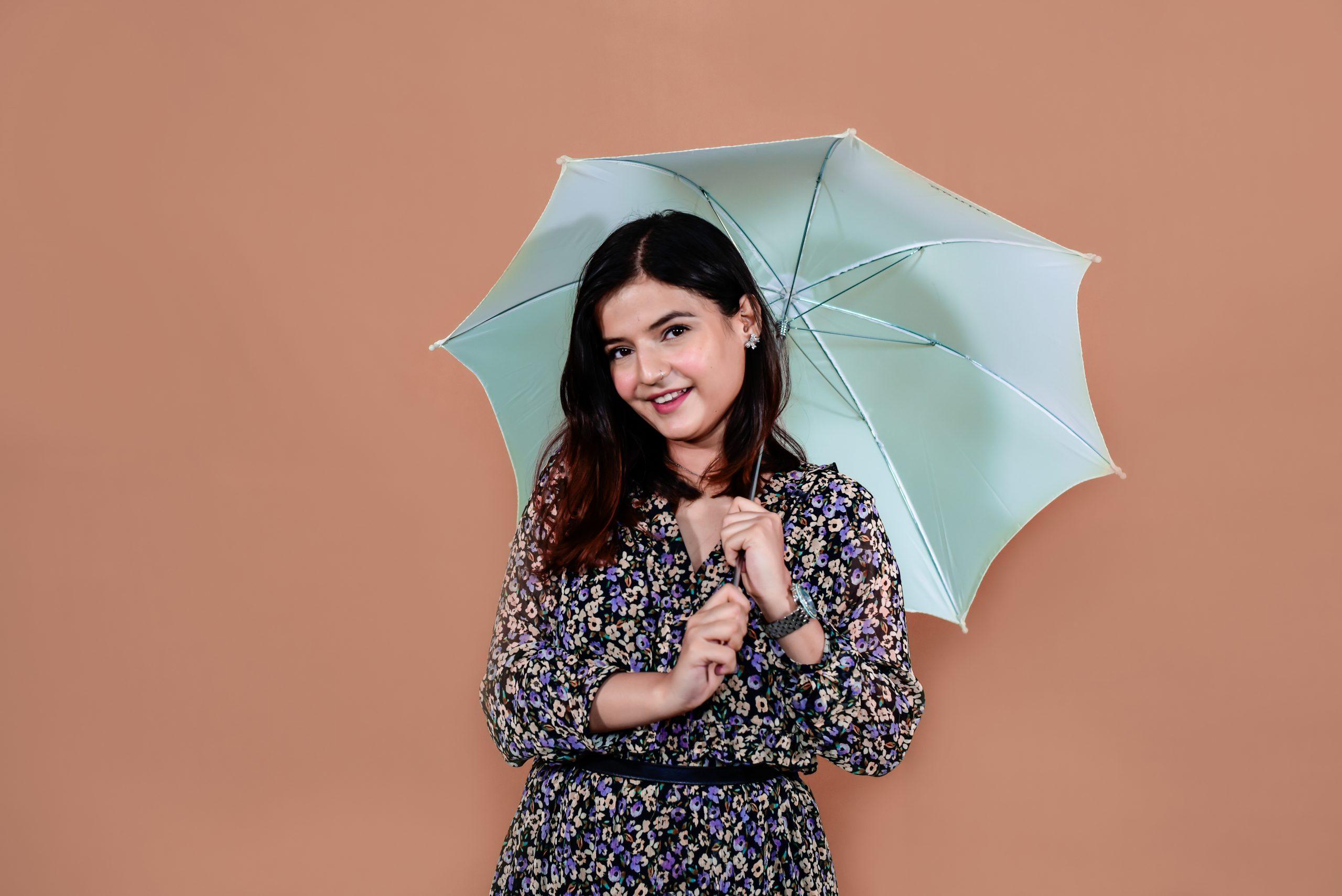 A girl with a umbrella