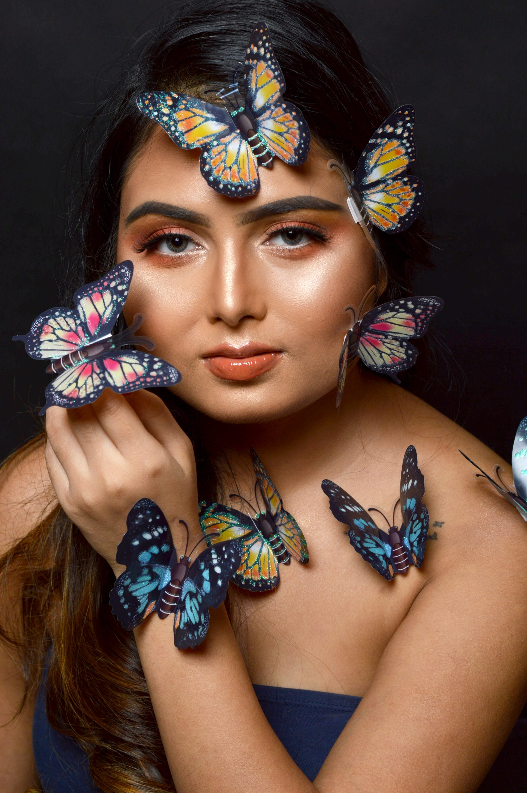A girl with butterflies