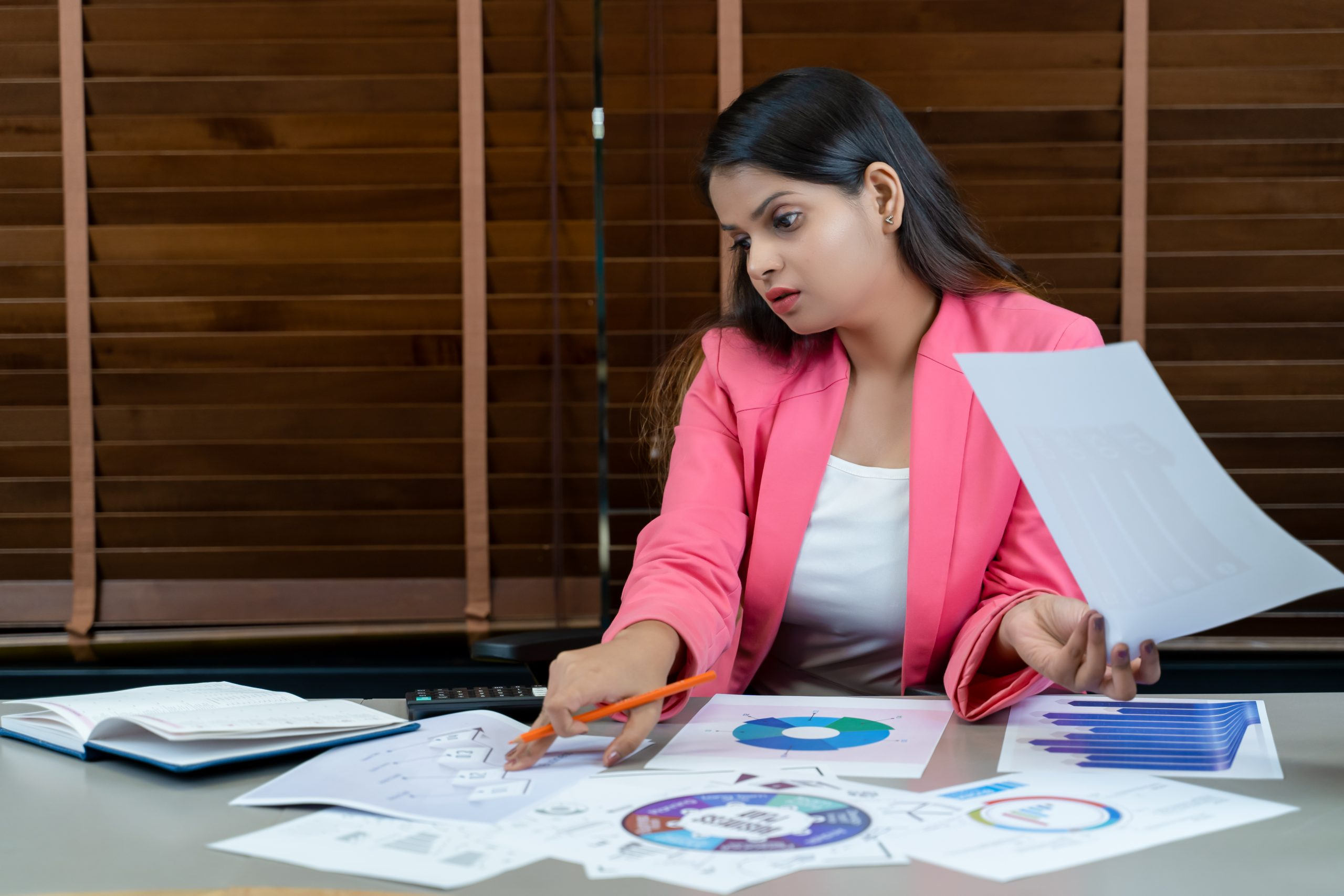 A girl working on a business project