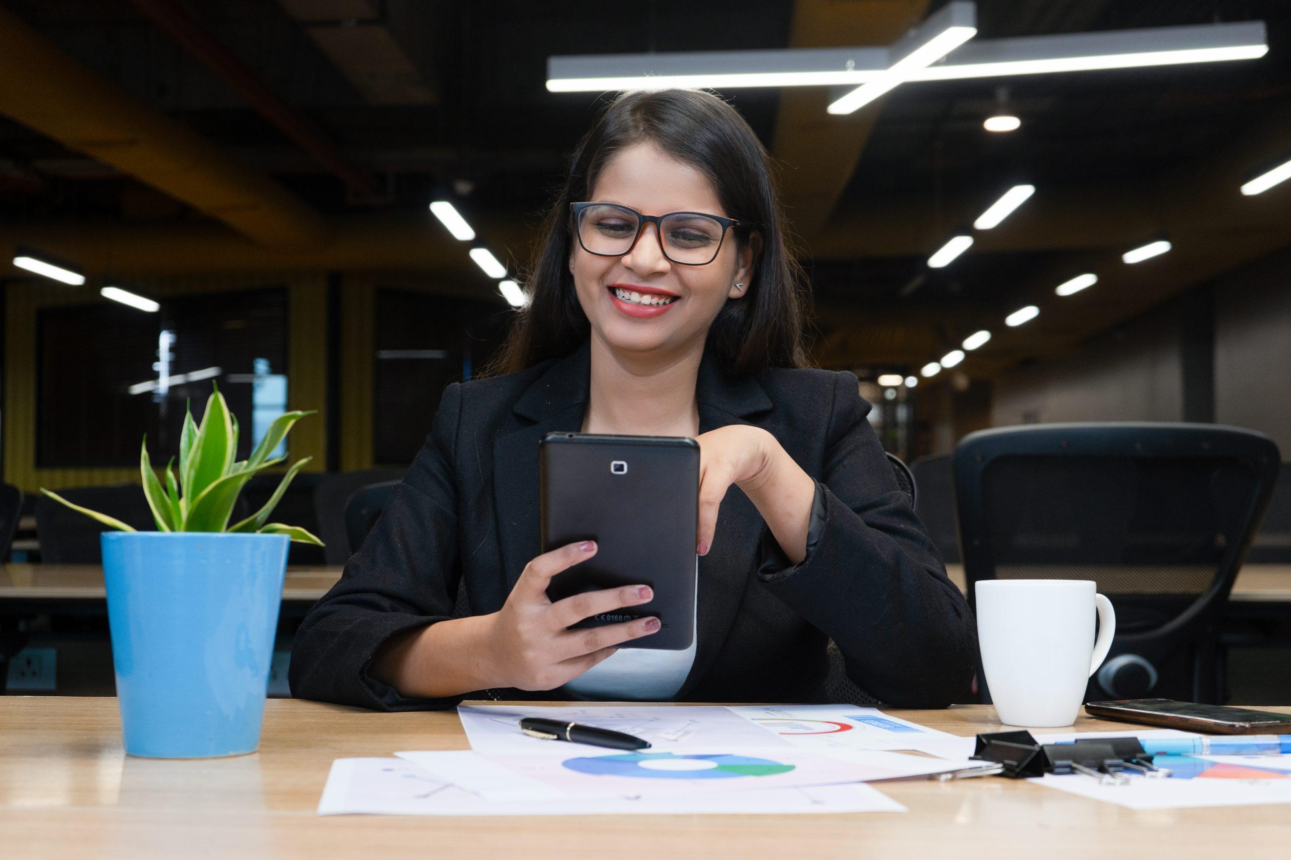 woman working on tab
