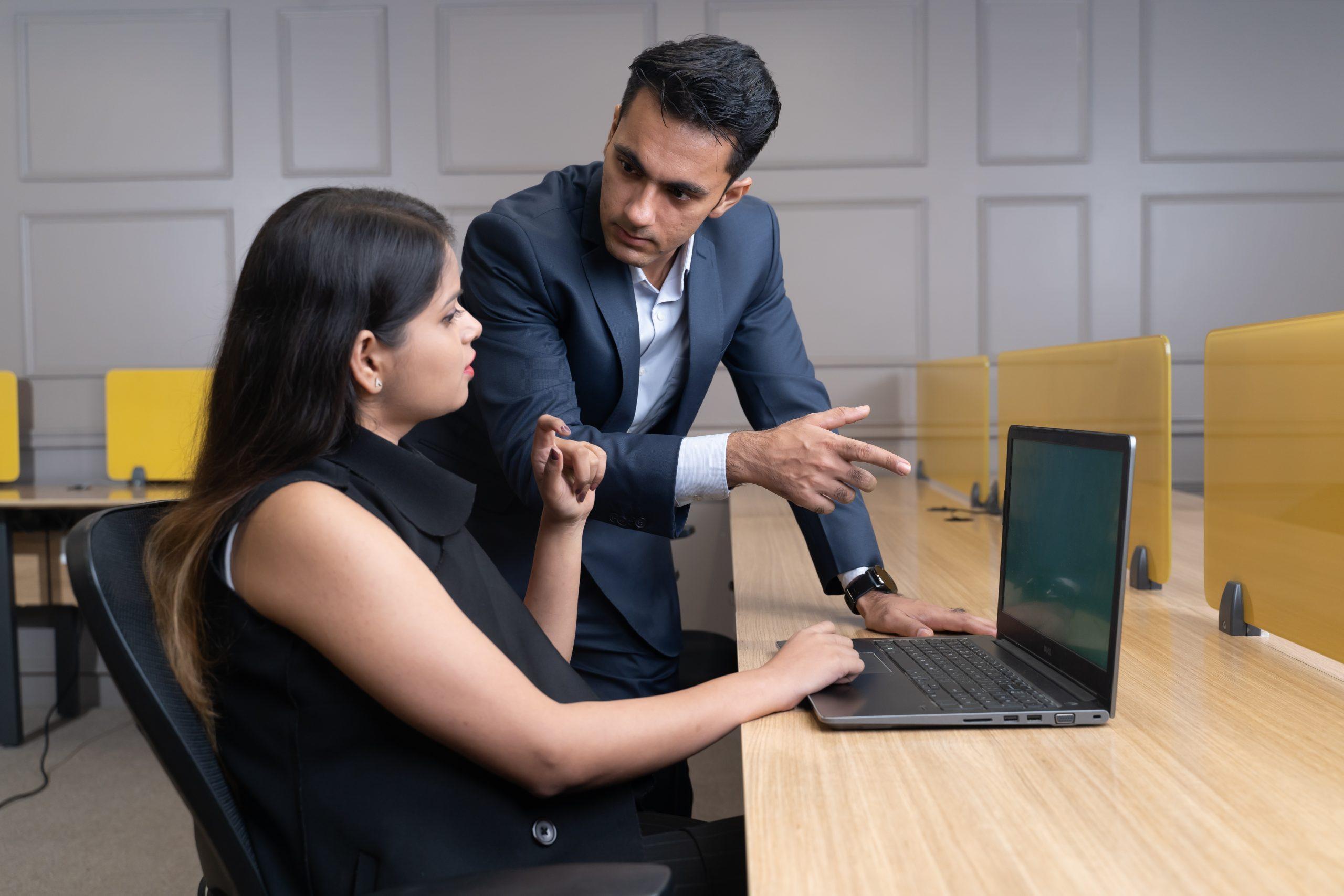 A manager explaining to an executive