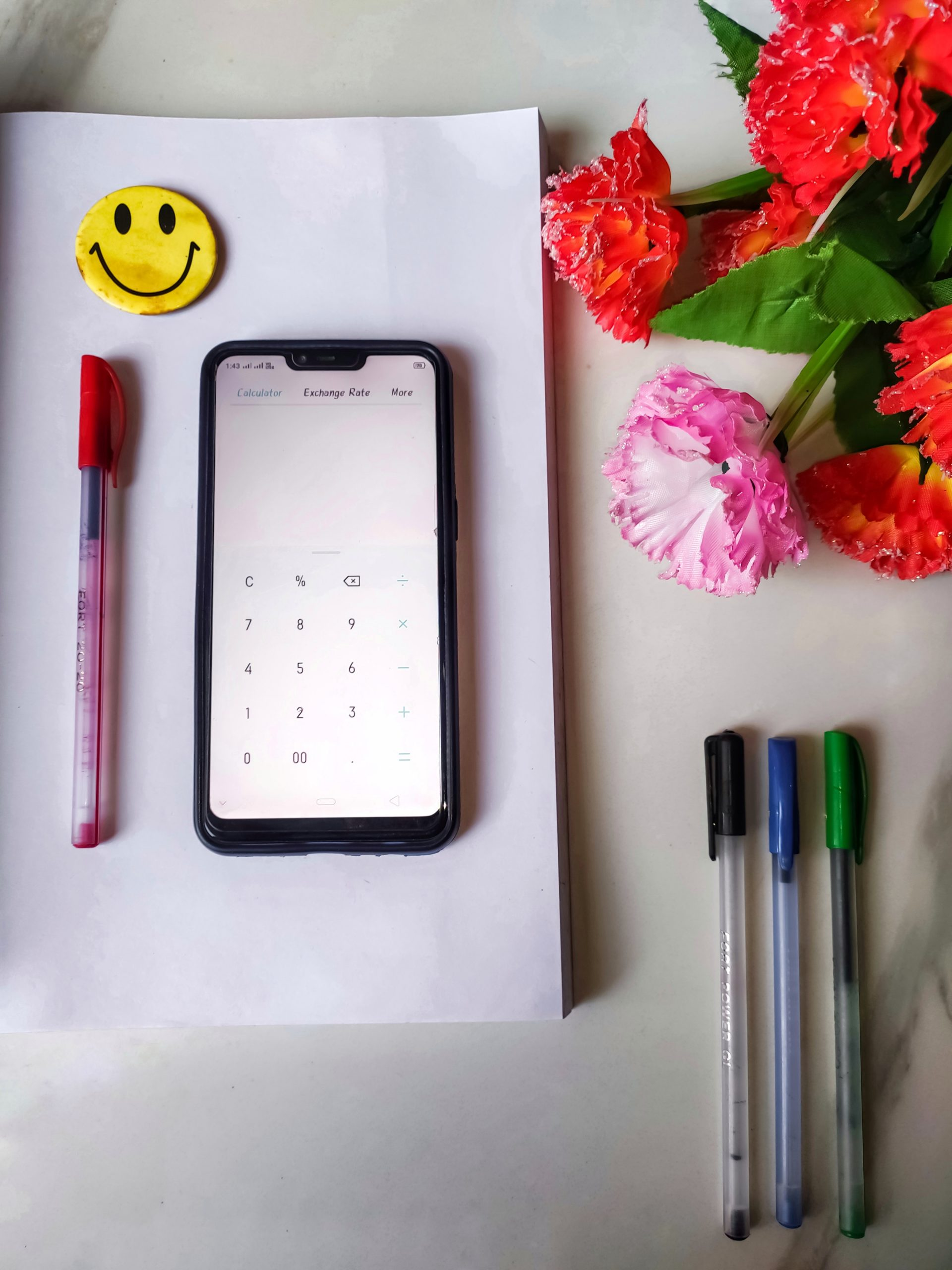A mobile calculator on copy