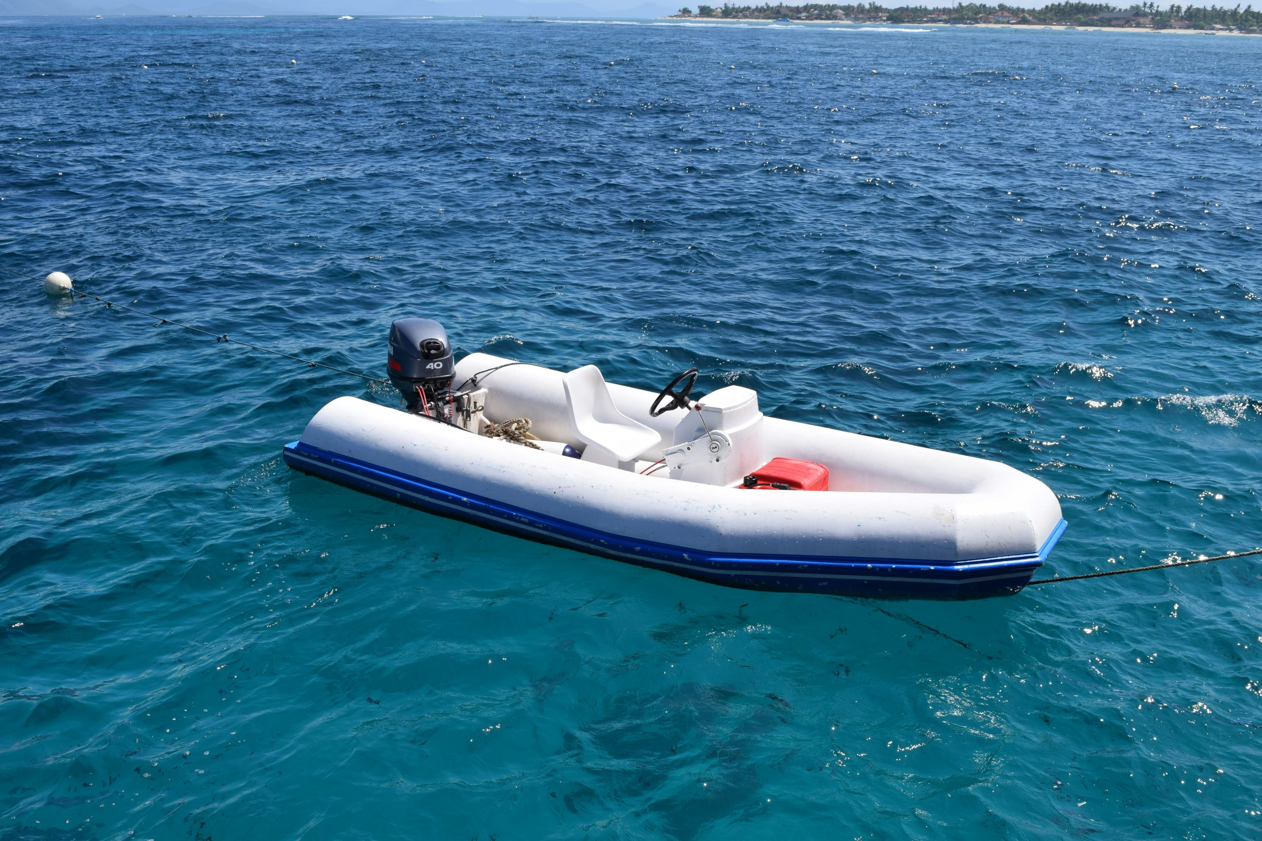 A motor boat floating in a sea