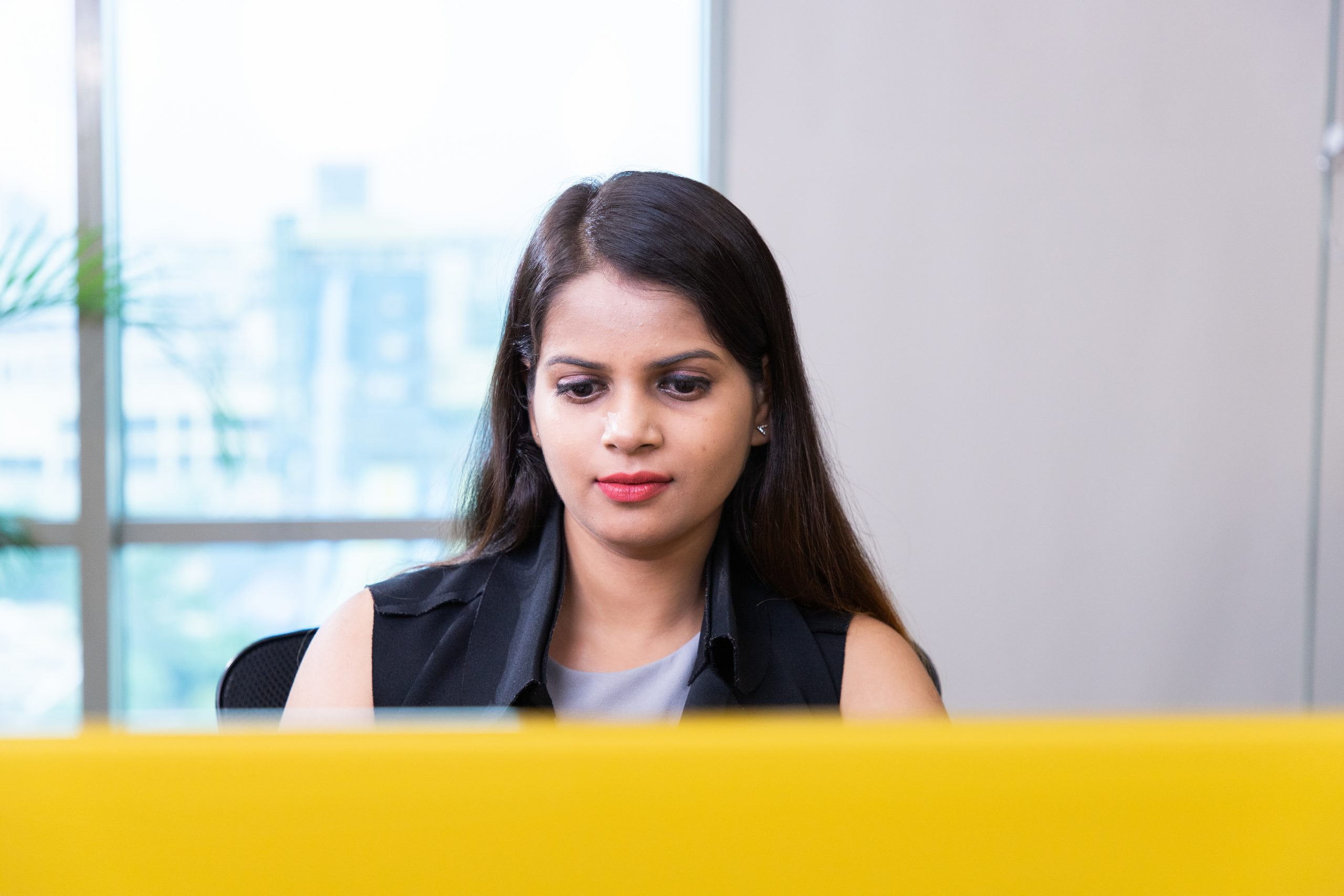 A passionate office girl working