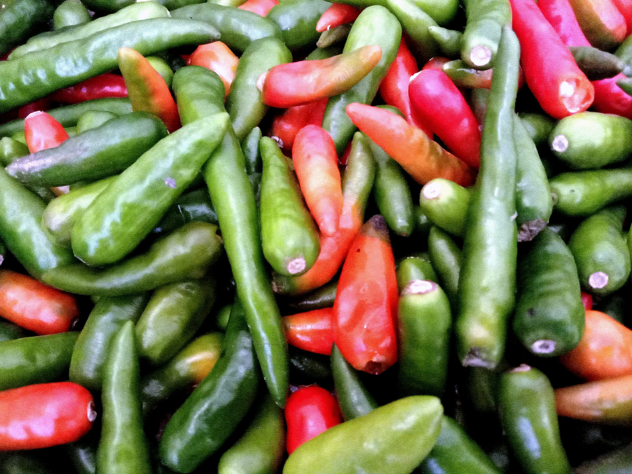 A pile of green chillies
