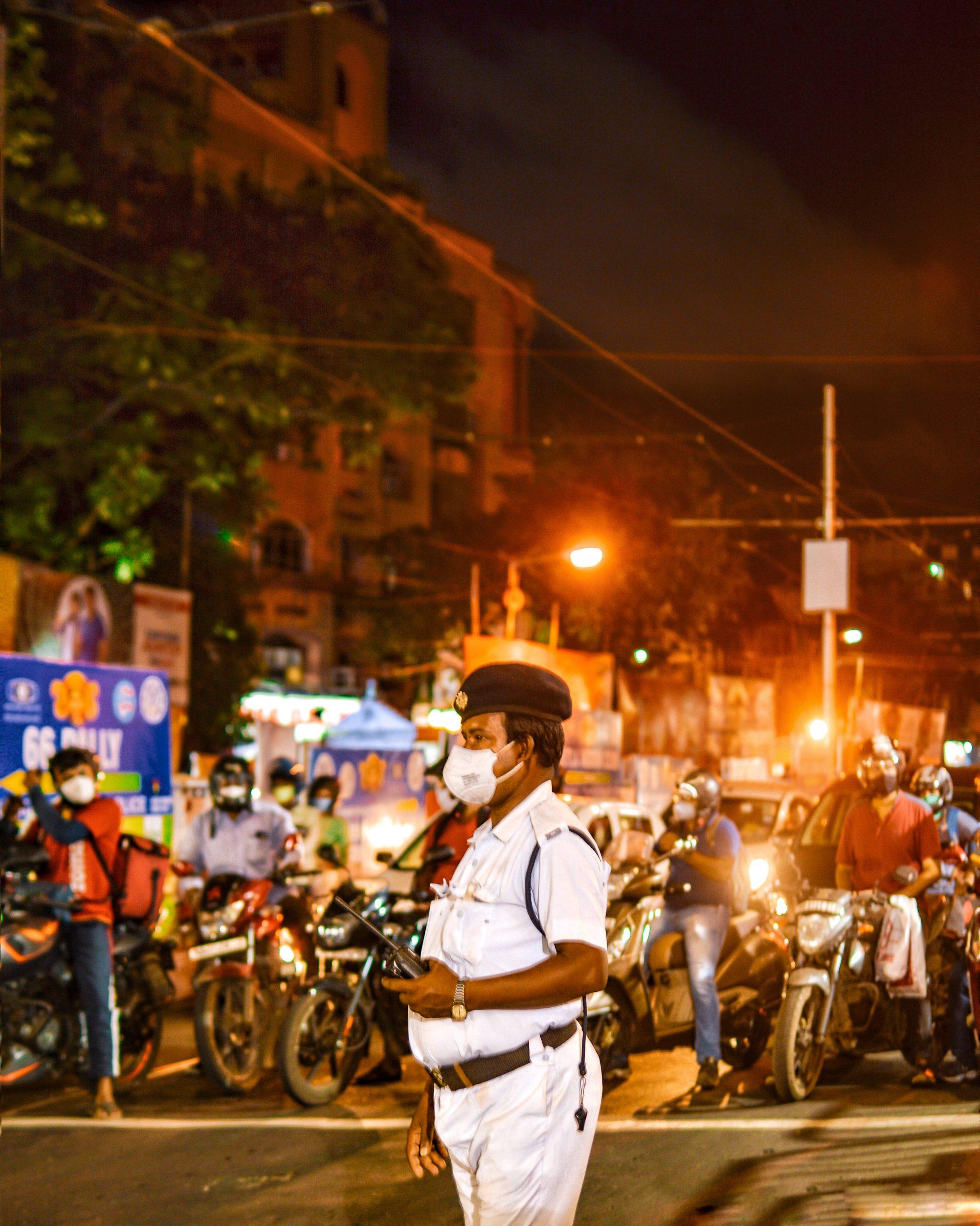 A policeman managing traffic
