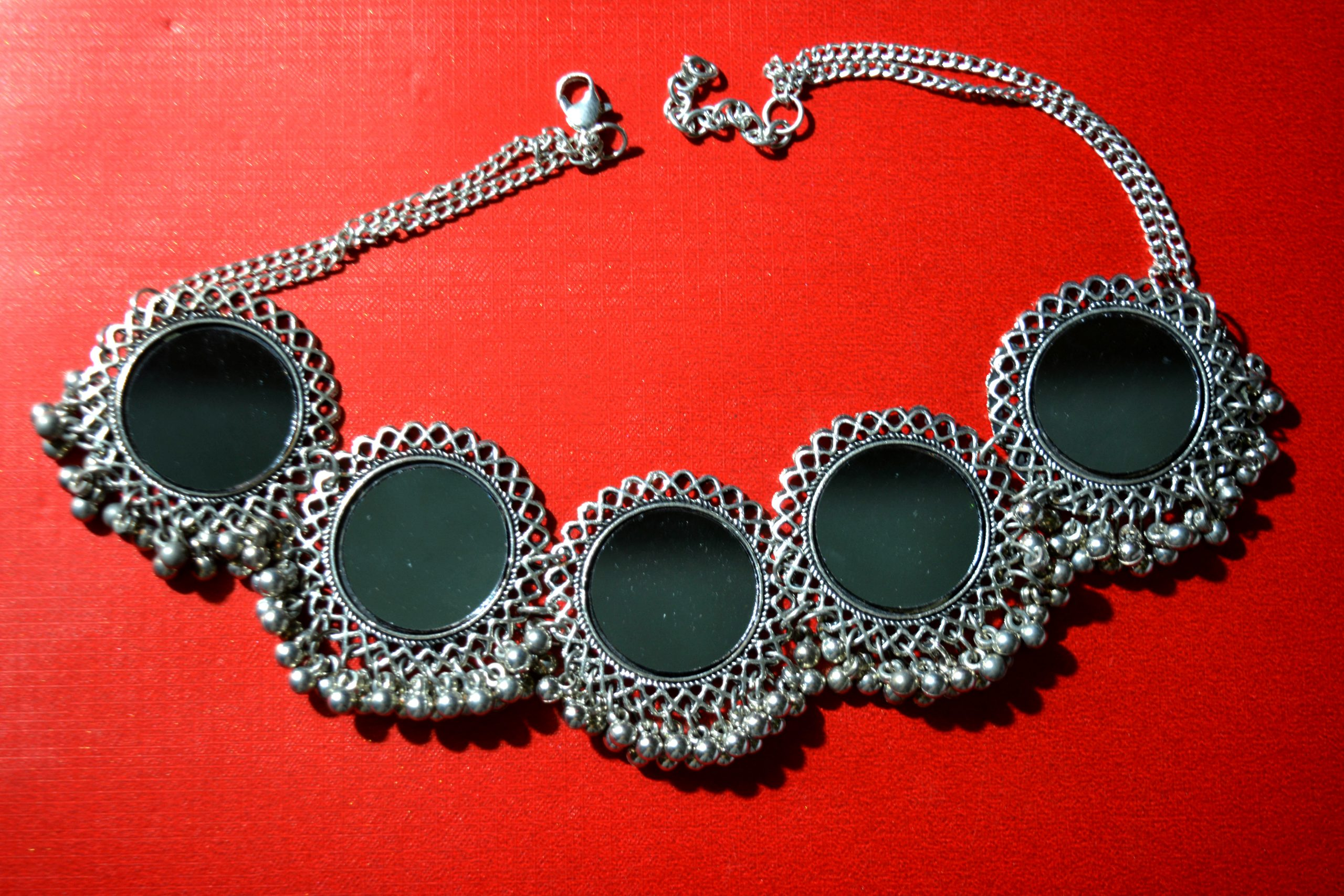 A silver necklace