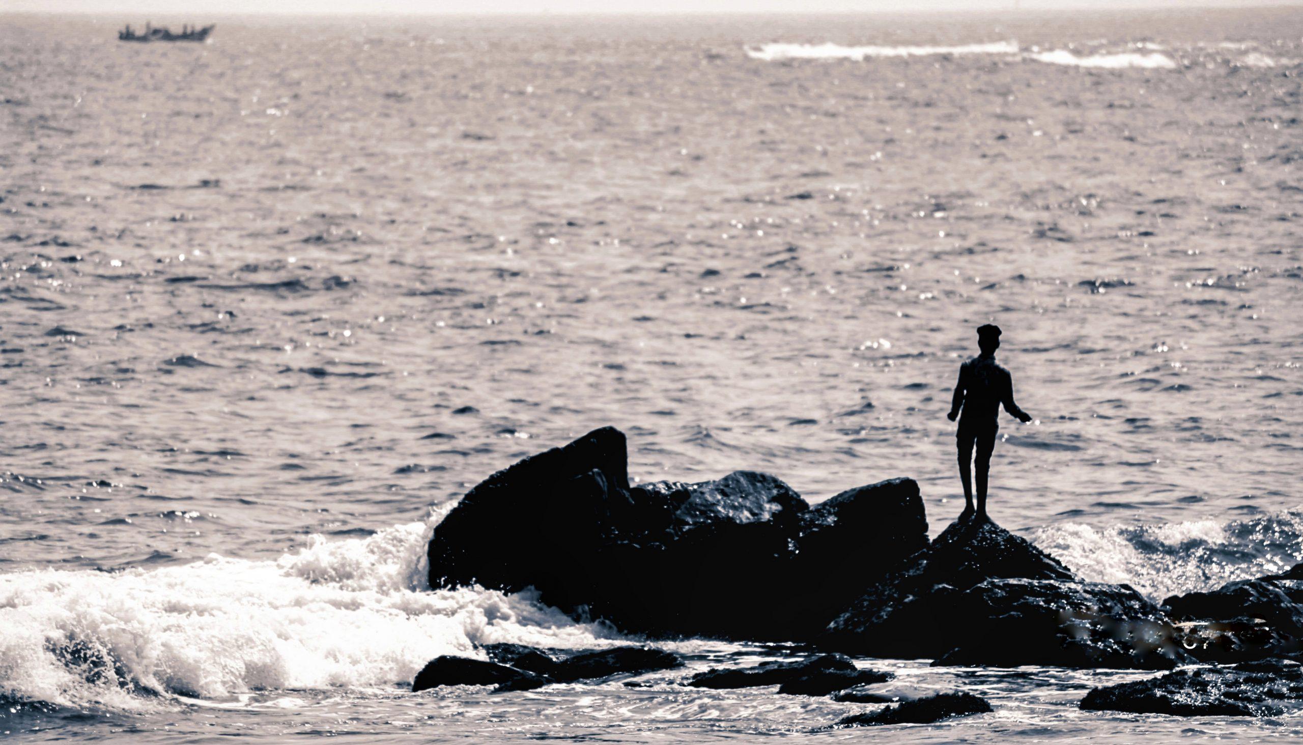 A small rock in sea