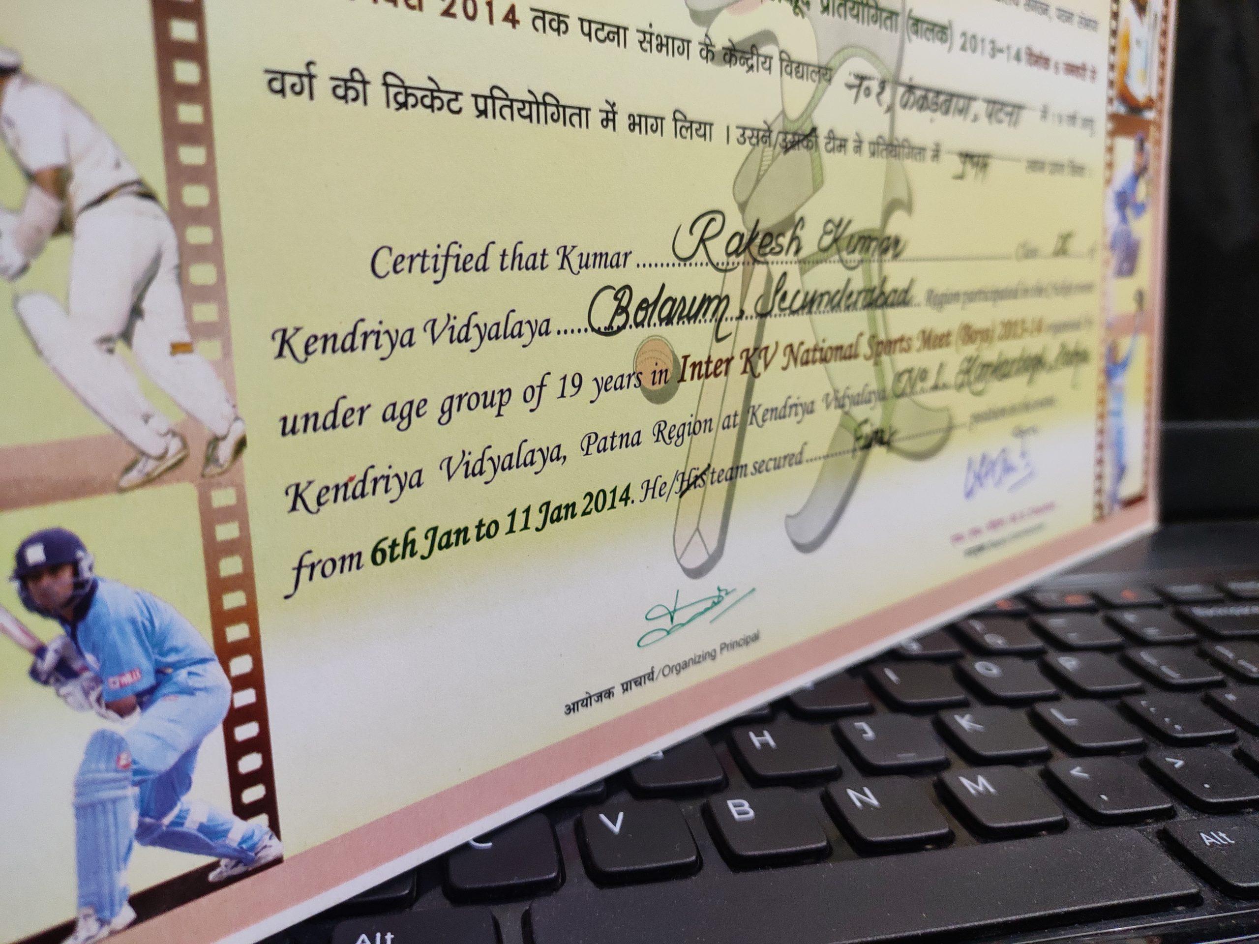 A sports certificate