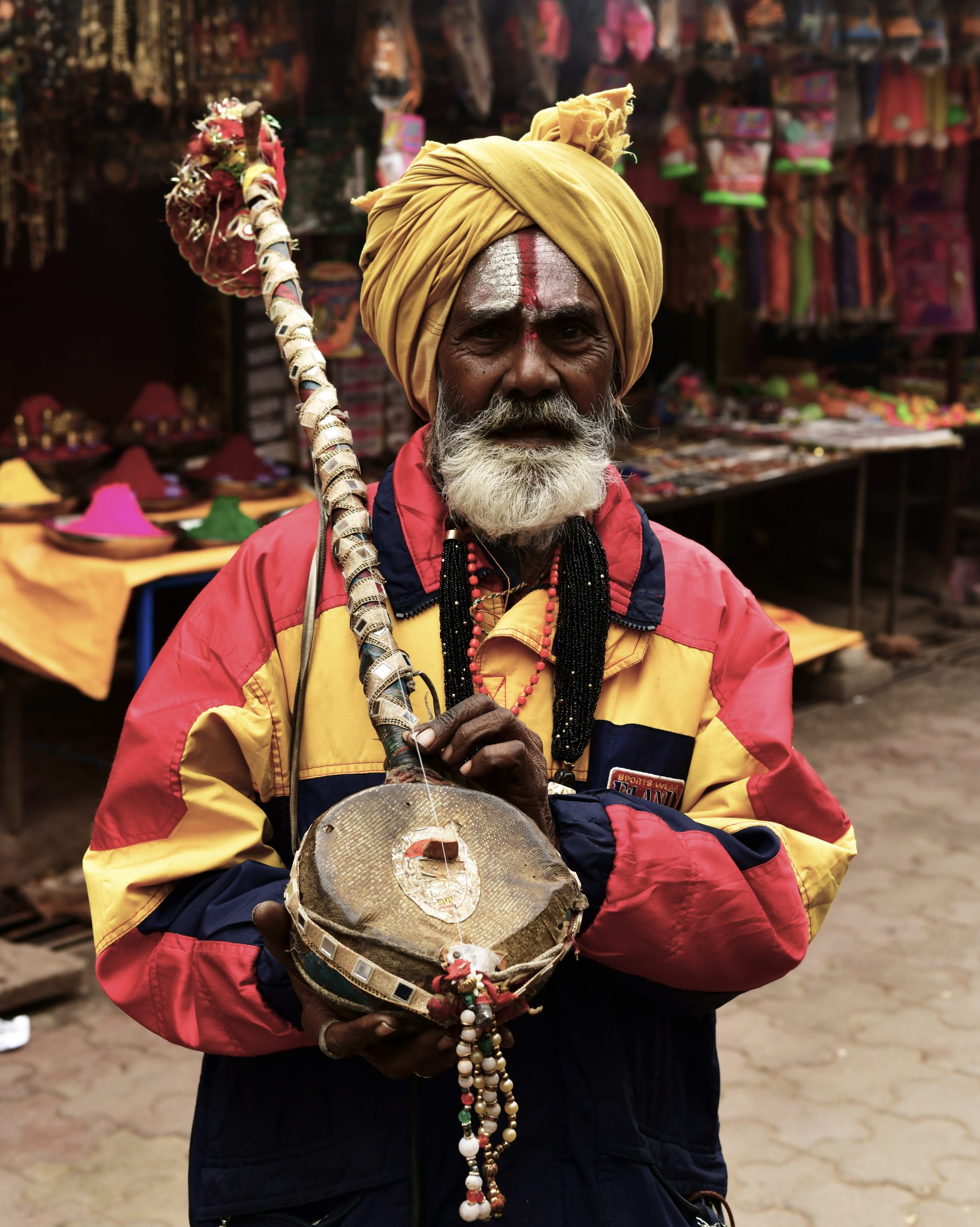 A street performer in a market