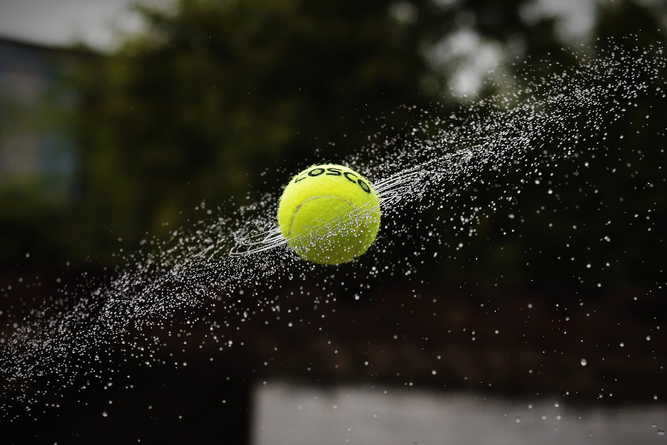 A tennis ball smashed