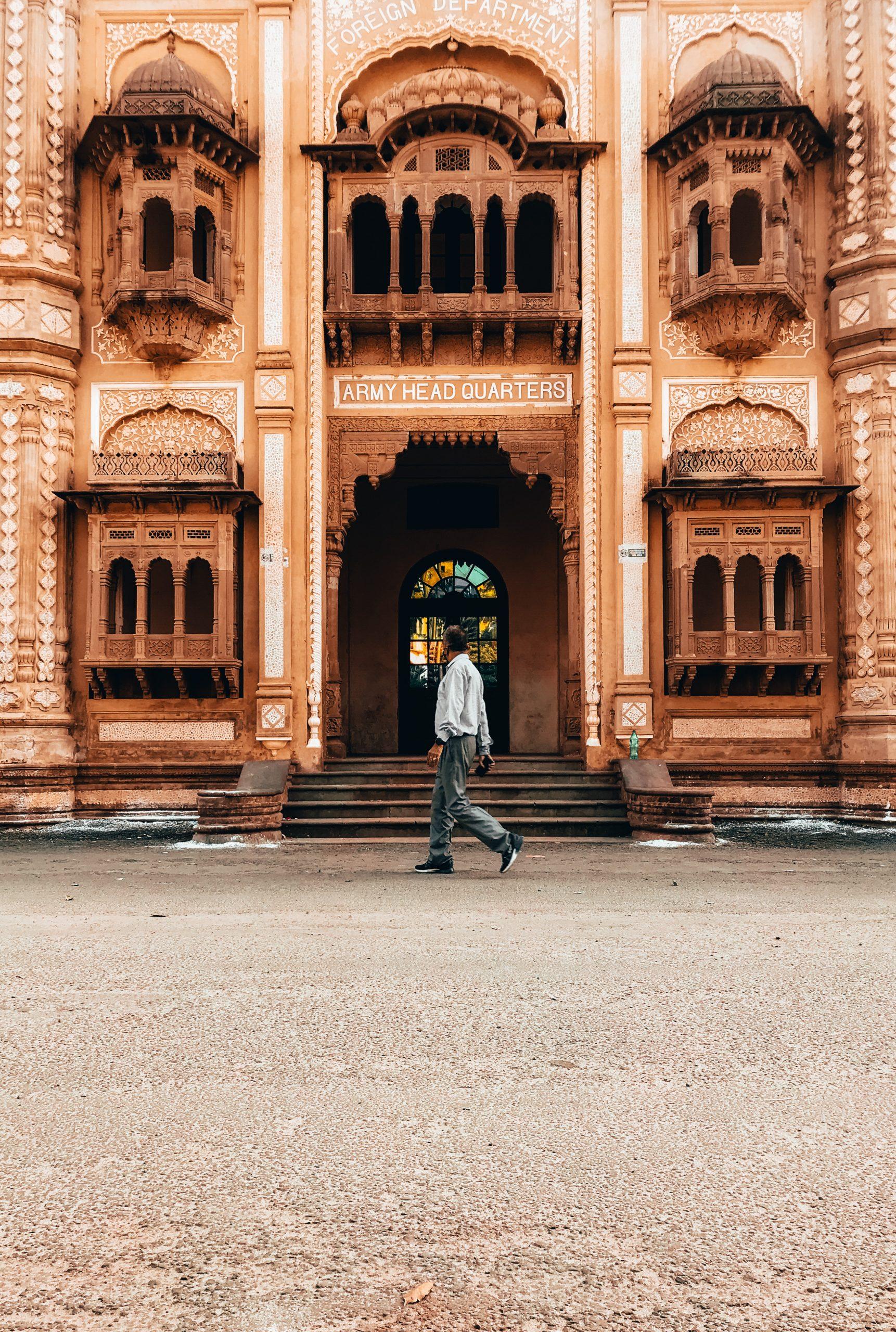 A tourist passing through a historic place