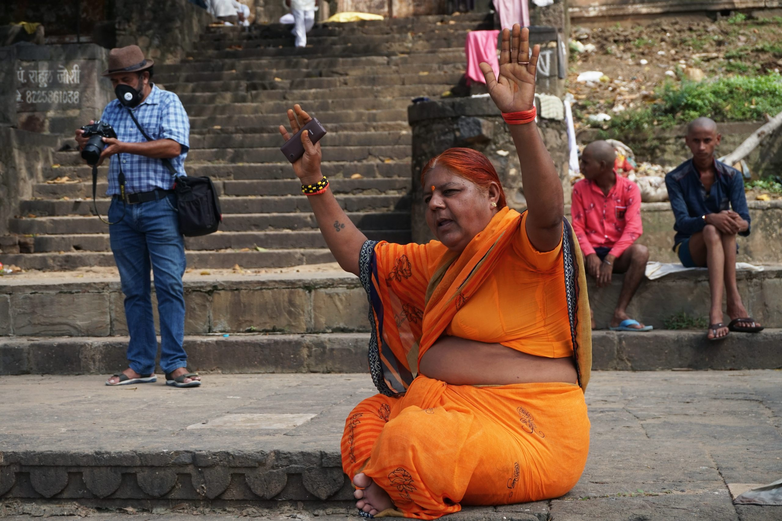 A woman at Fort ghat in Maheshwar