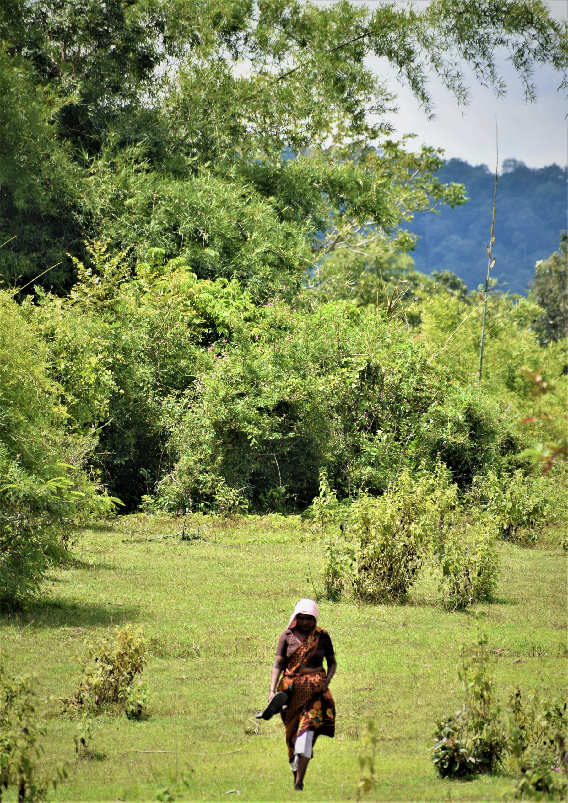 A woman walking through jungle