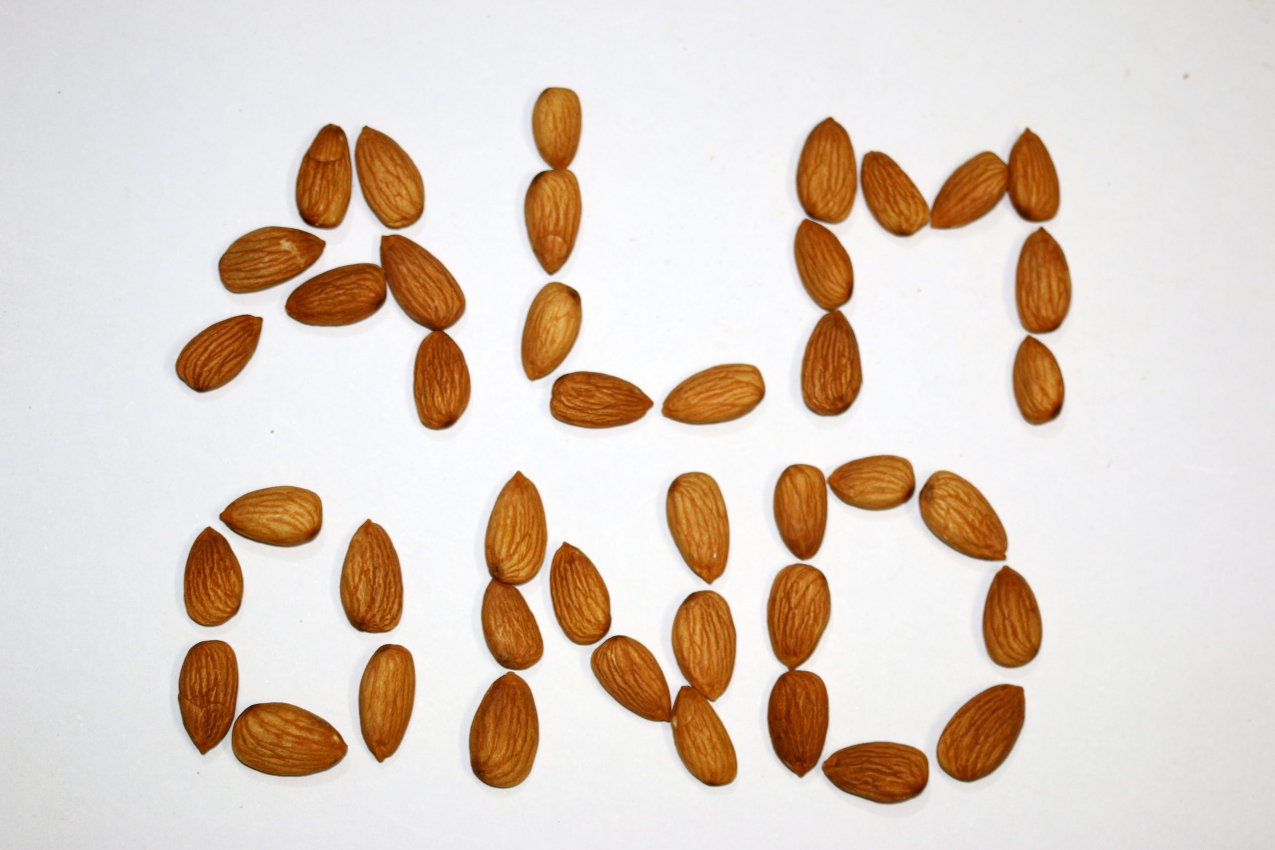 Almond word spelt using almonds
