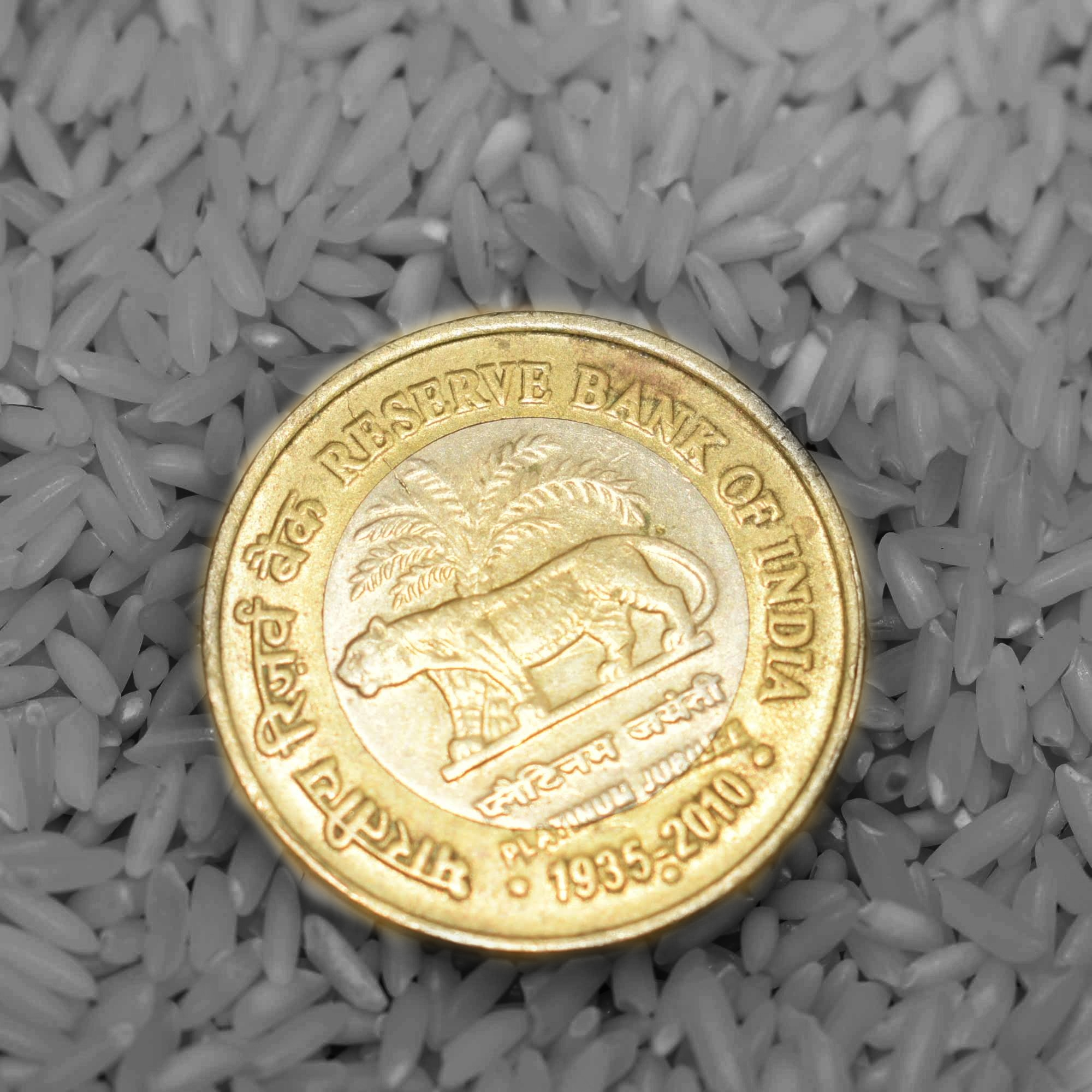 An Indian currency coin