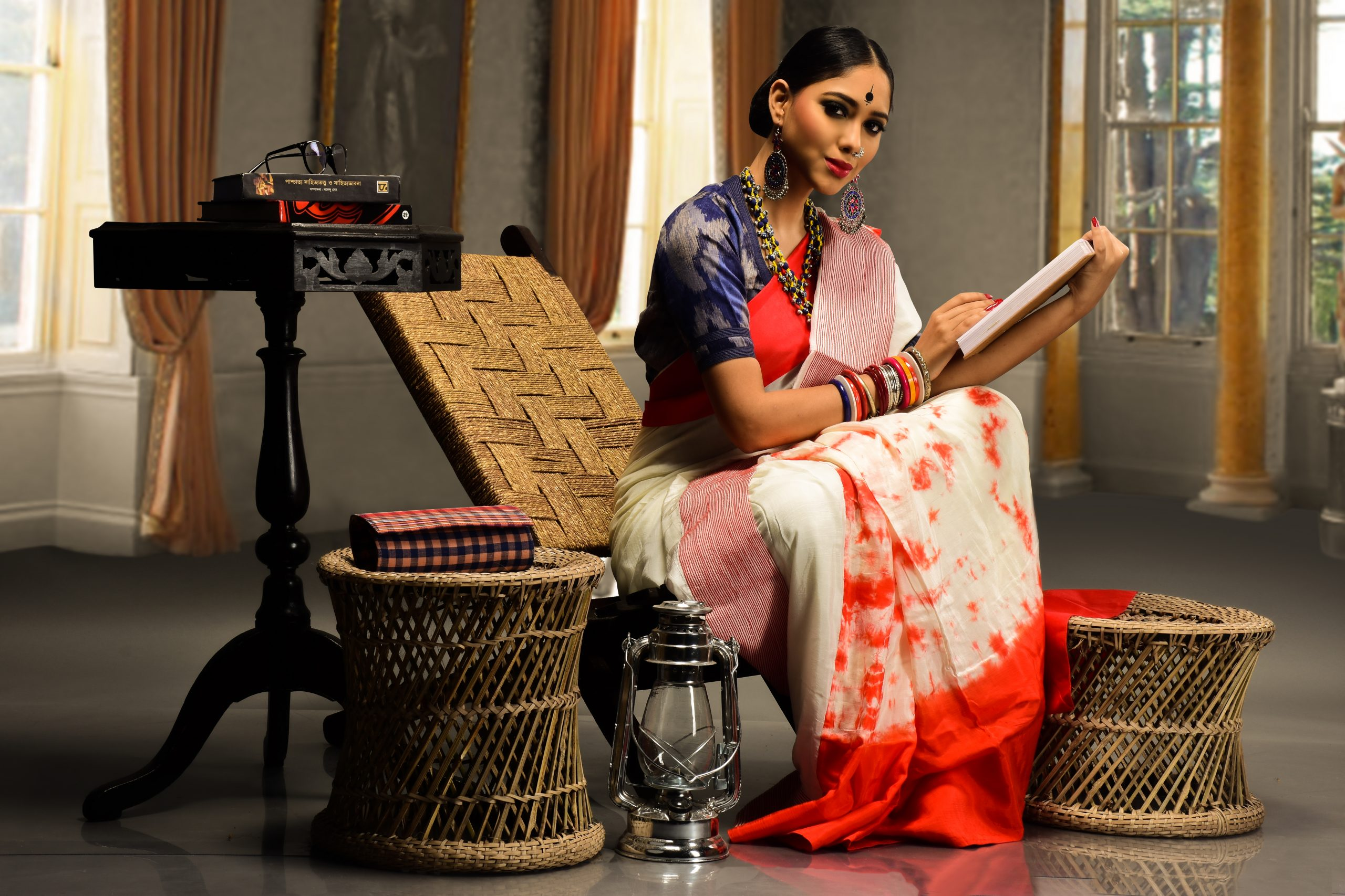 An Indian woman writing